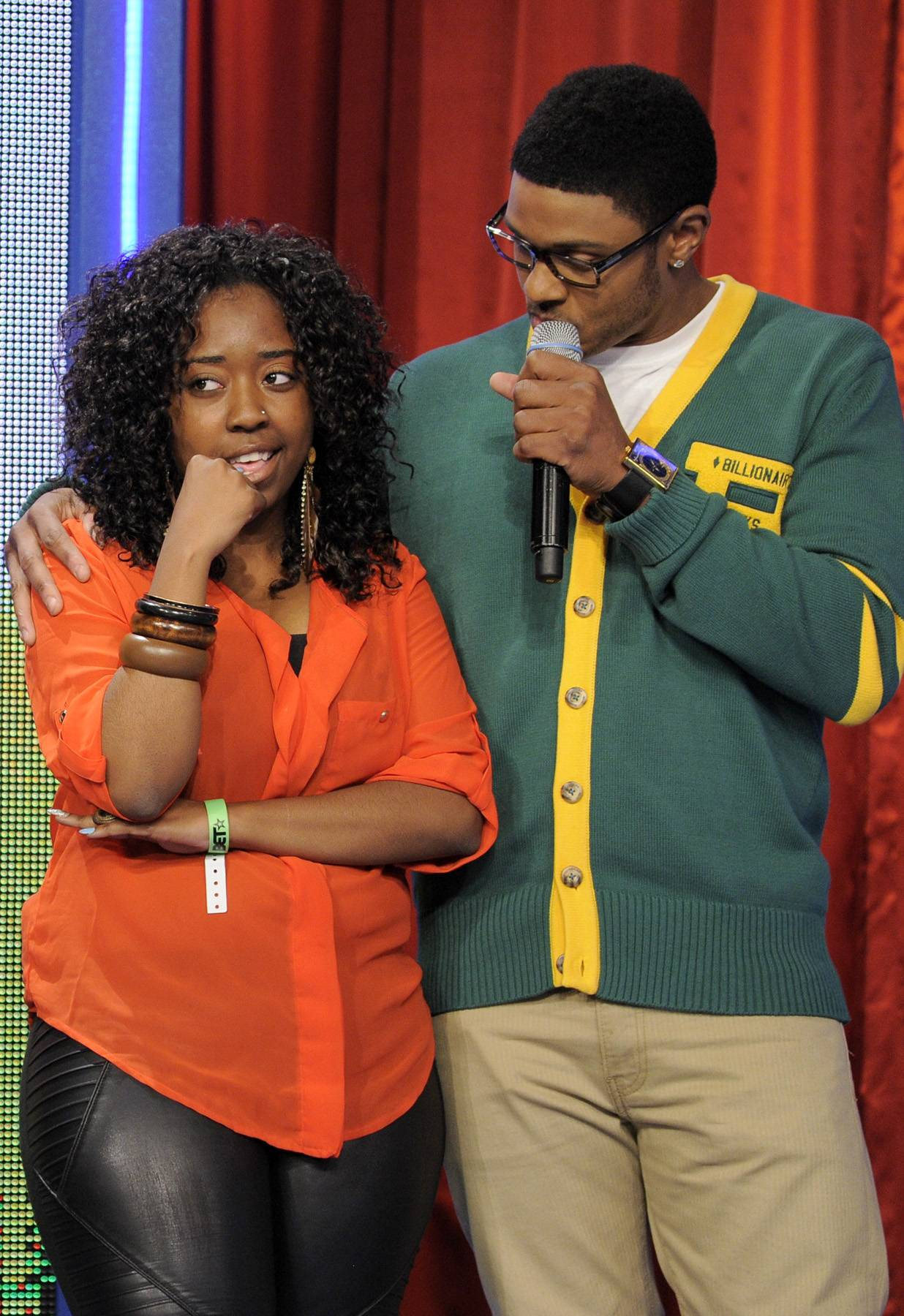 Pooch Talks to an Audience Member - Rocsi Diaz and Pooch Hall does random facts with audience members at 106 & Park, April 12, 2012. (Photo: John Ricard / BET)