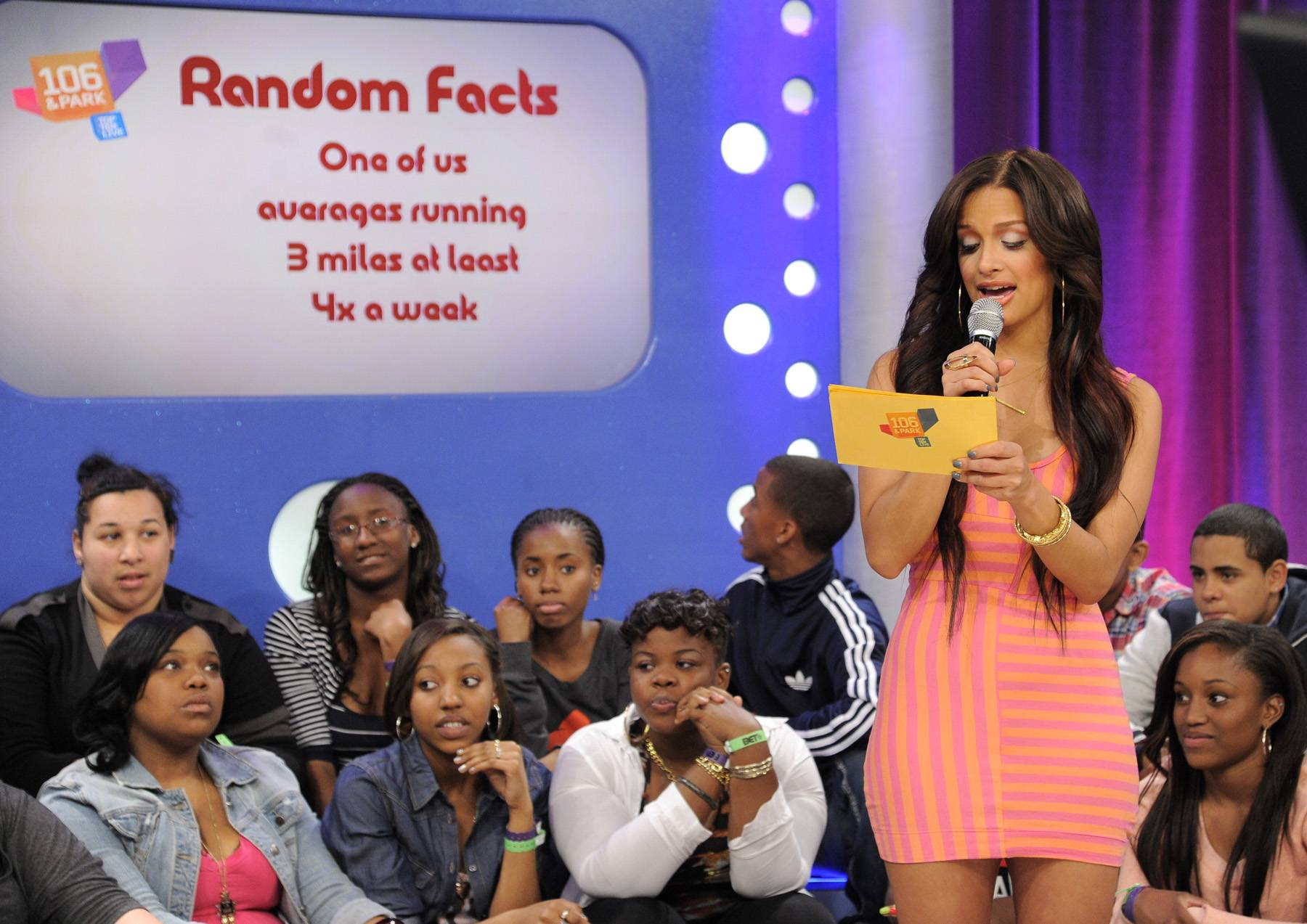 Someone Likes To Run - Rocsi Diaz and Pooch Hall does random facts with audience members at 106 & Park, April 12, 2012. (Photo: John Ricard / BET)
