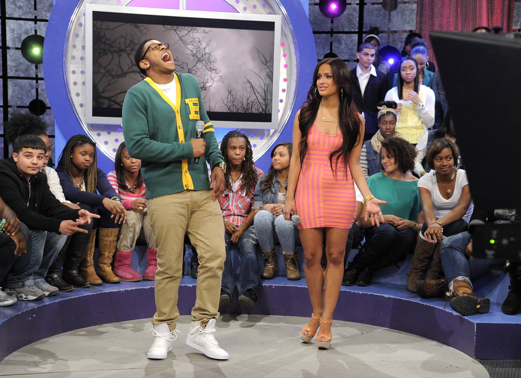 LOL - Pooch Hall clowns around during commercial break at 106 & Park, April 12, 2012. (Photo: John Ricard / BET)