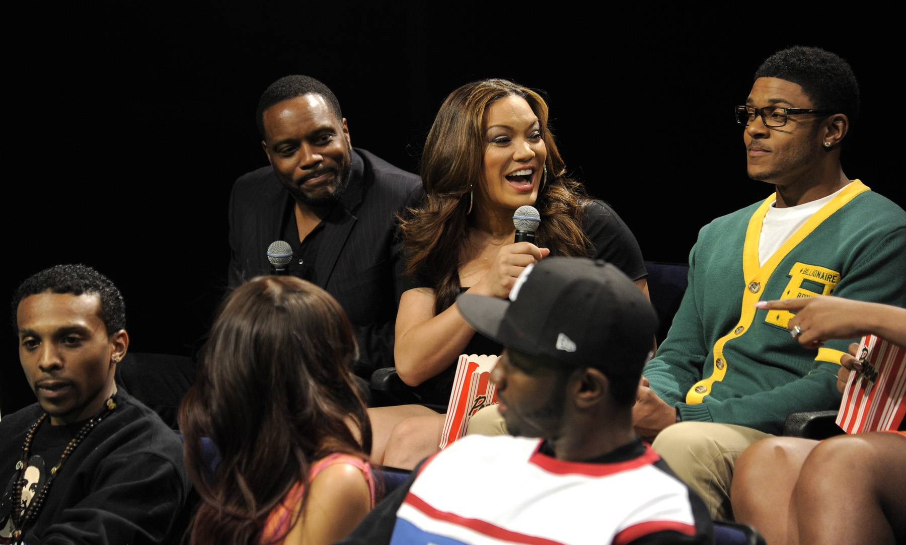 """Having a Moment - Rocsi Diaz and Pooch Hall with the cast of""""Life, Love, Soul"""" at 106 & Park, April 12, 2012. (Photo: John Ricard / BET)"""