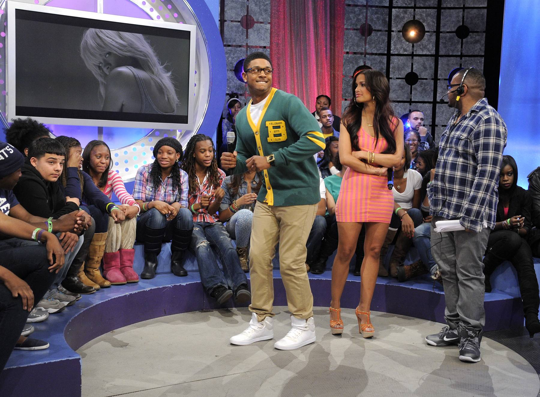 In Trouble - Pooch Hall clowns around during commercial break at 106 & Park, April 12, 2012. (Photo: John Ricard / BET)