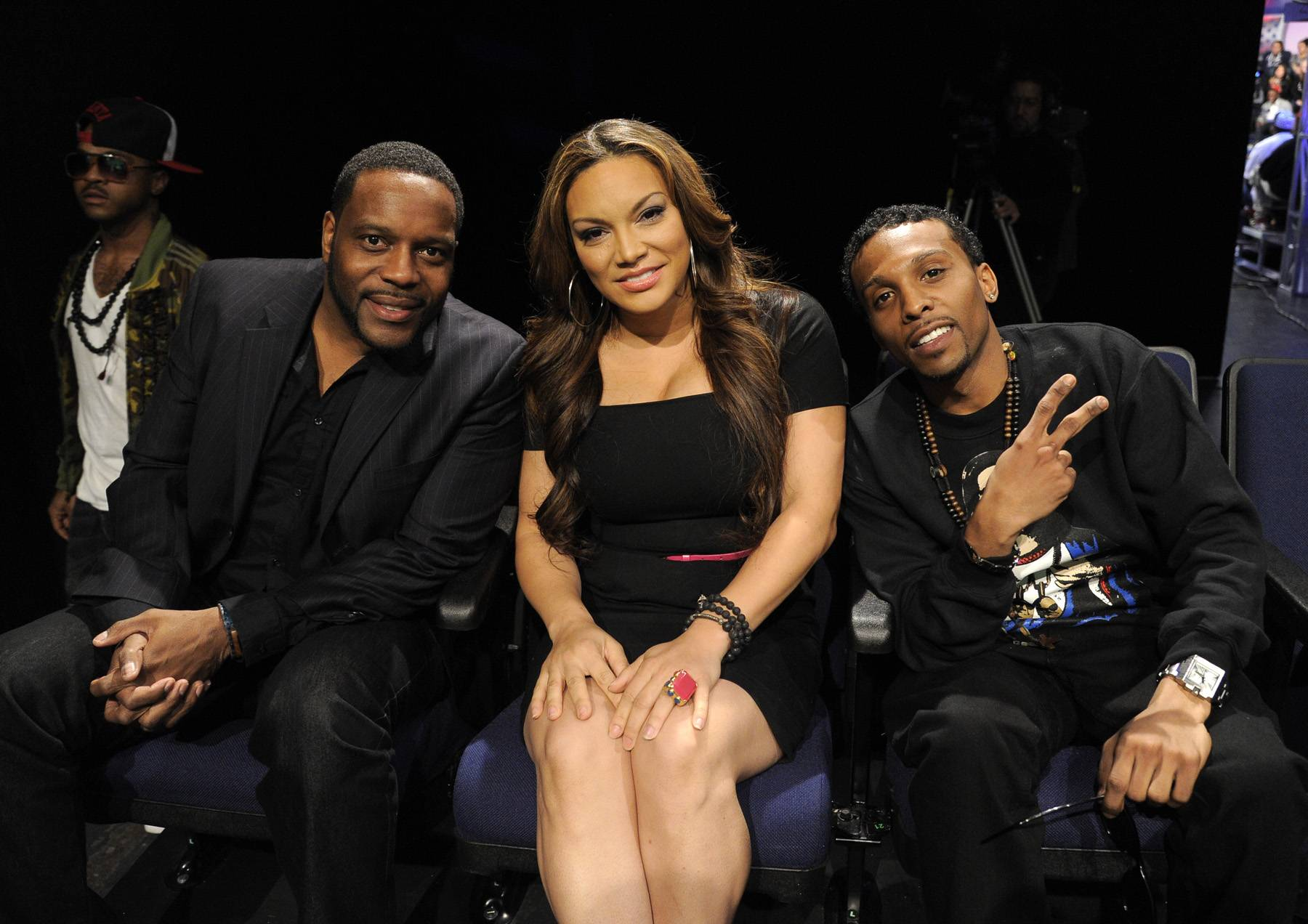 Enjoying the Moment - Chad Coleman, Egypt Sherrod and Robbie Tate Brickle backstage at 106 & Park, April 12, 2012. (Photo: John Ricard / BET)
