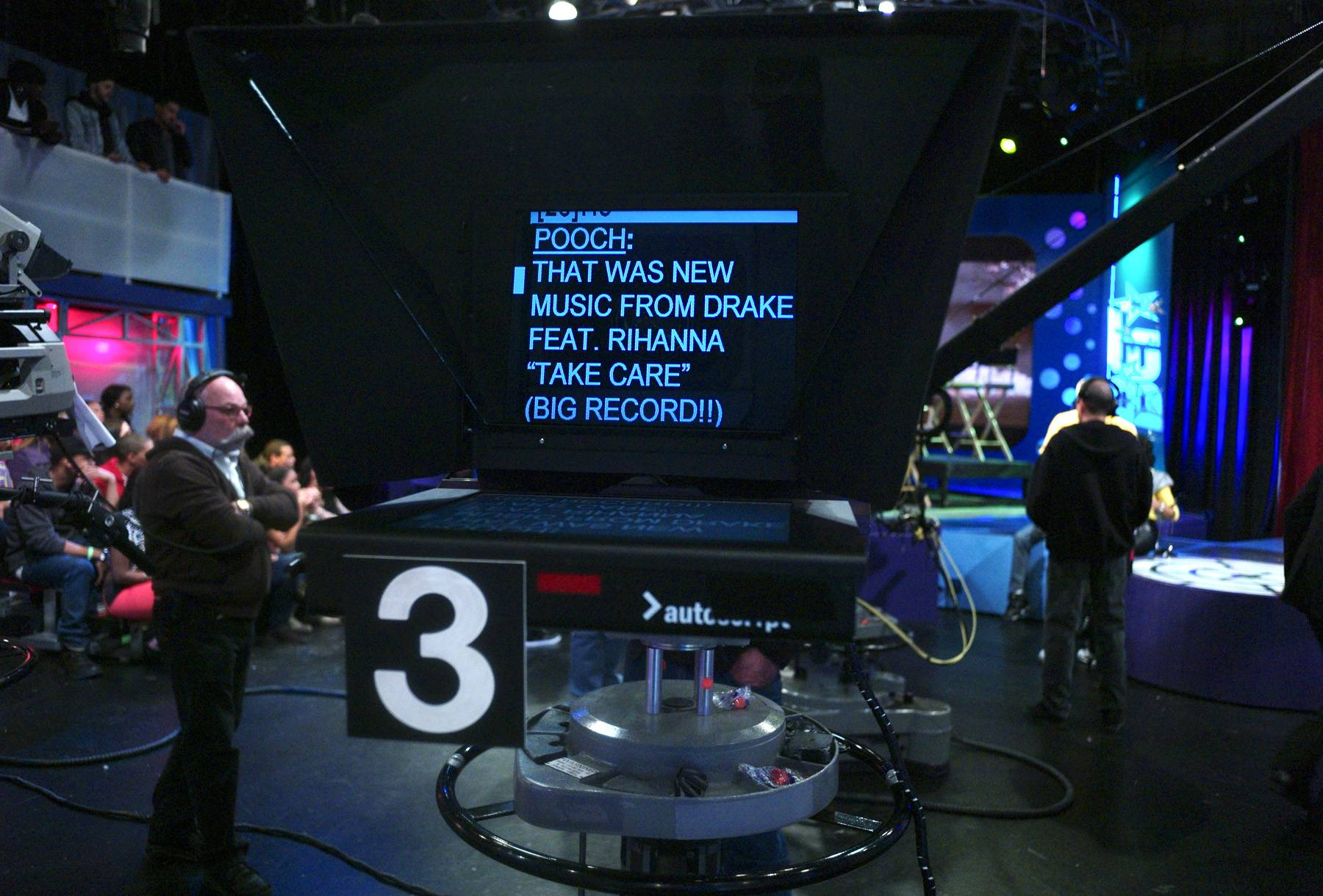 What Are My Lines - Pooch Hall teleprompter at 106 & Park, April 12, 2012. (Photo: John Ricard / BET)