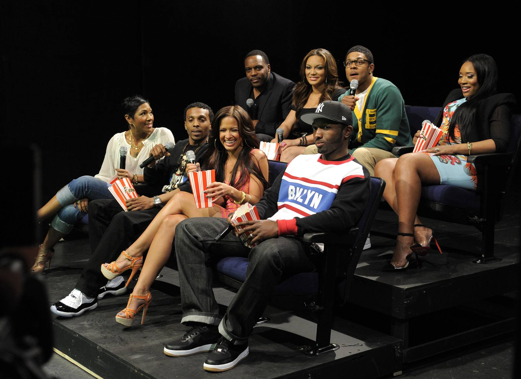 """Theater Chillin' - Rocsi Diaz and Pooch Hall with the cast of""""Life, Love, Soul"""" at 106 & Park, April 12, 2012. (Photo: John Ricard / BET)"""