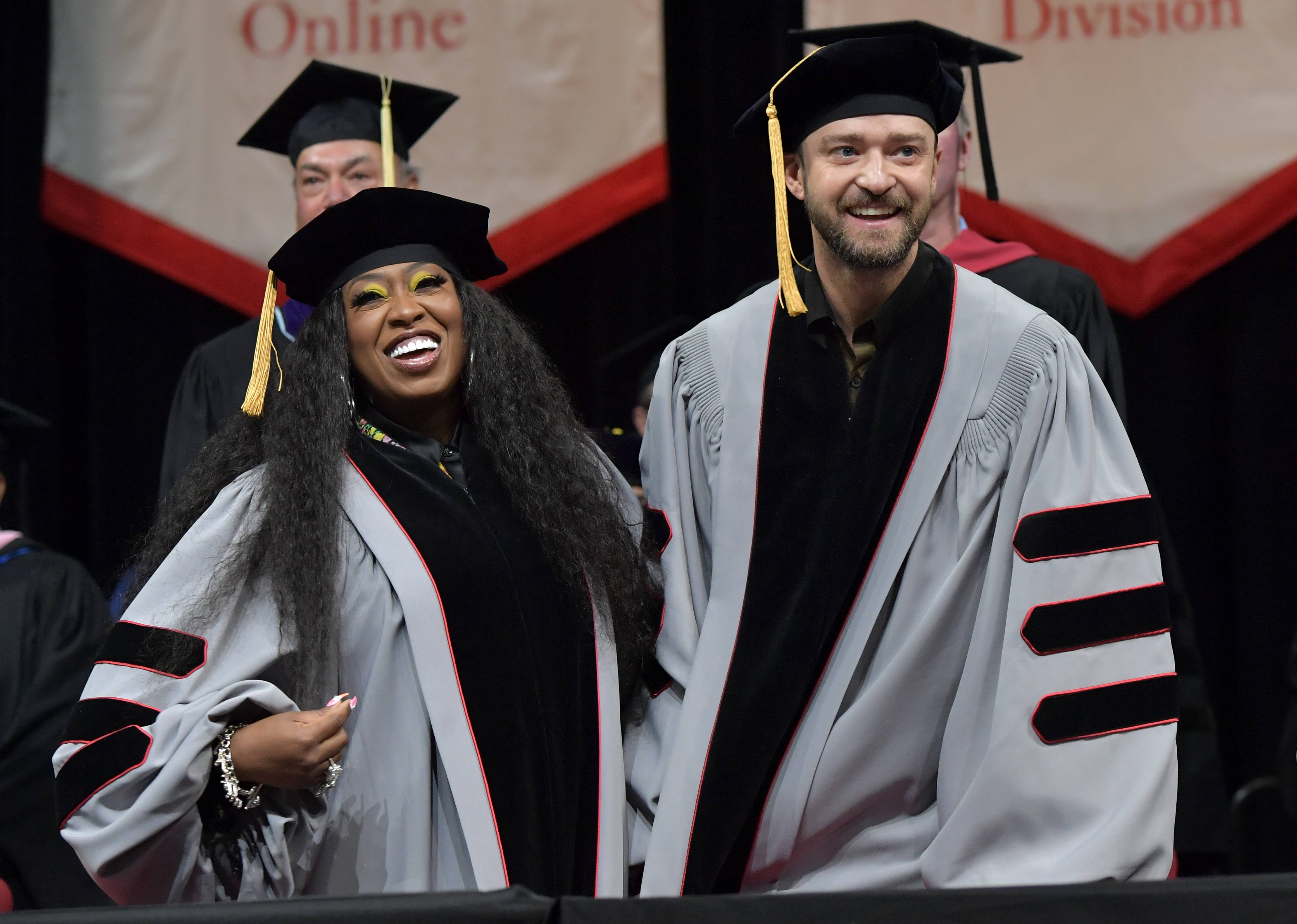 """Missy Elliott and Justin Timberlake - Missy Elliott: """"CREATE YOUR OWN LANE!!!! Sincerely Dr. MISSY ELLIOTT@Berkleecollege#VA#757""""Justin Timberlake: """"No Dream is too big!!! Keep chasing!!! Trust me... I'm a DOCTOR!! But, for real... THANK YOU to@berkleecollegefor this incredible honor—I'm very humbled and grateful.""""(Photo: Paul Marotta/Getty Images for Berklee)"""