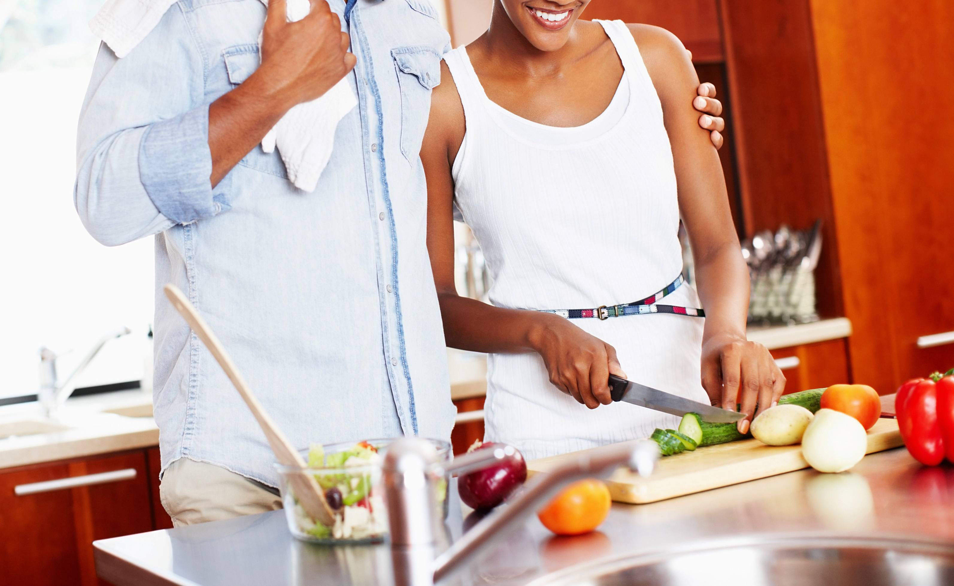 Cook a Special Meal - A bit cliche but if you're not used to cooking a meal it can really impress your mate. Of course, you have to jazz it up with fine wine, slow jams and candles.  (Photo: Getty Images/STOCK)