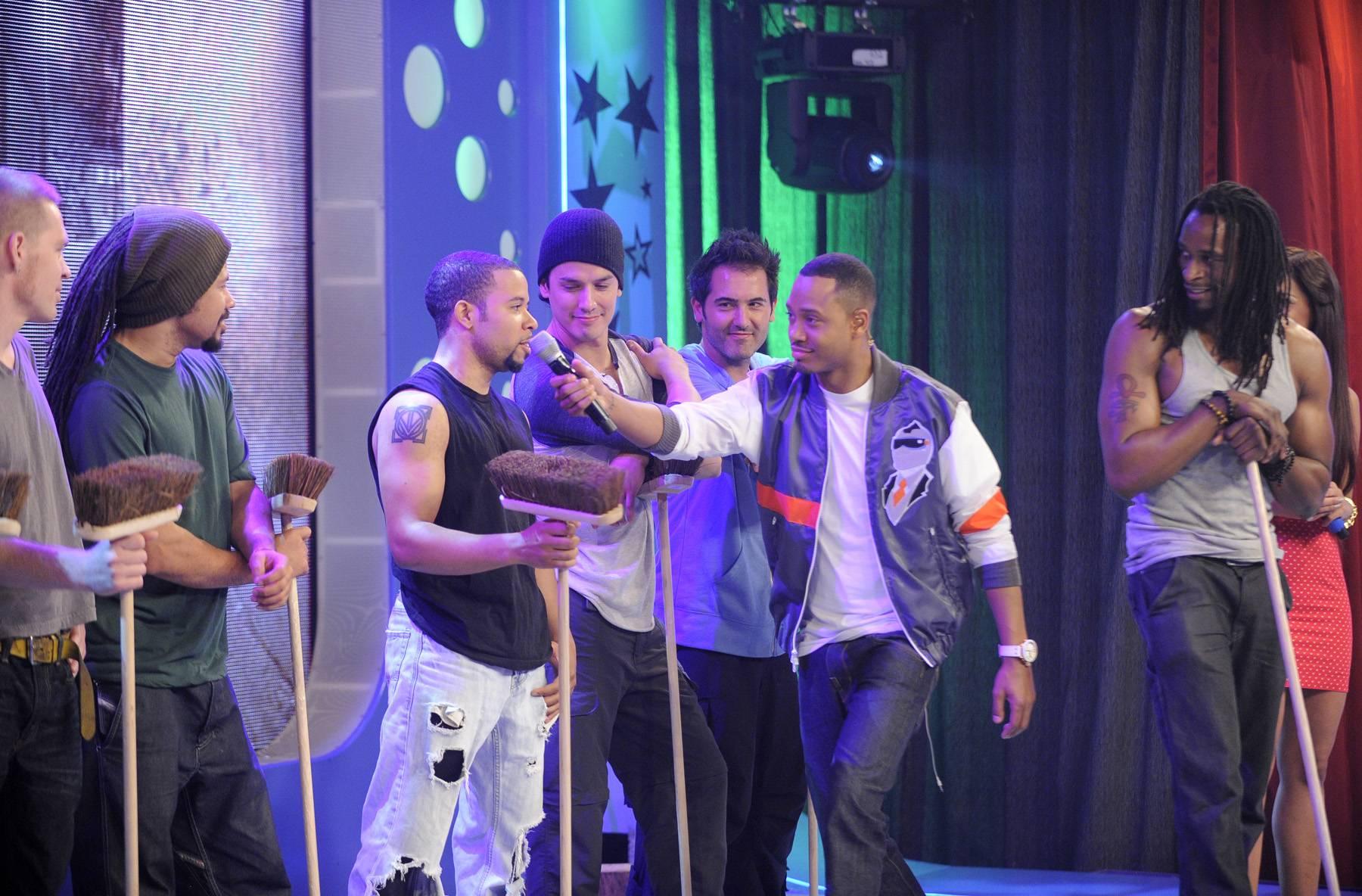 "Sweep Up - Cast of ""STOMP"" perform at 106 & Park, May 3, 2012. (Photo: John Ricard / BET)"