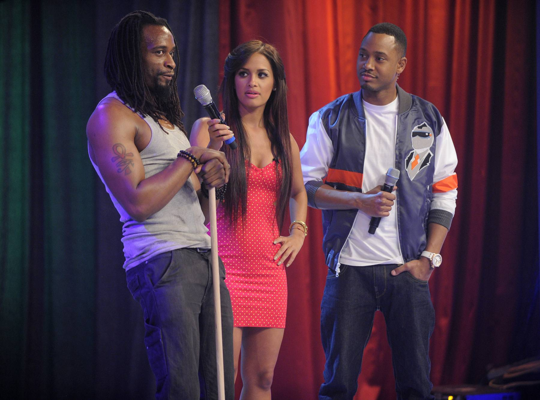 """Stomping Through - Cast of """"STOMP"""" with Rocsi Diaz and Terrence J at 106 & Park, May 3, 2012. (Photo: John Ricard / BET)"""