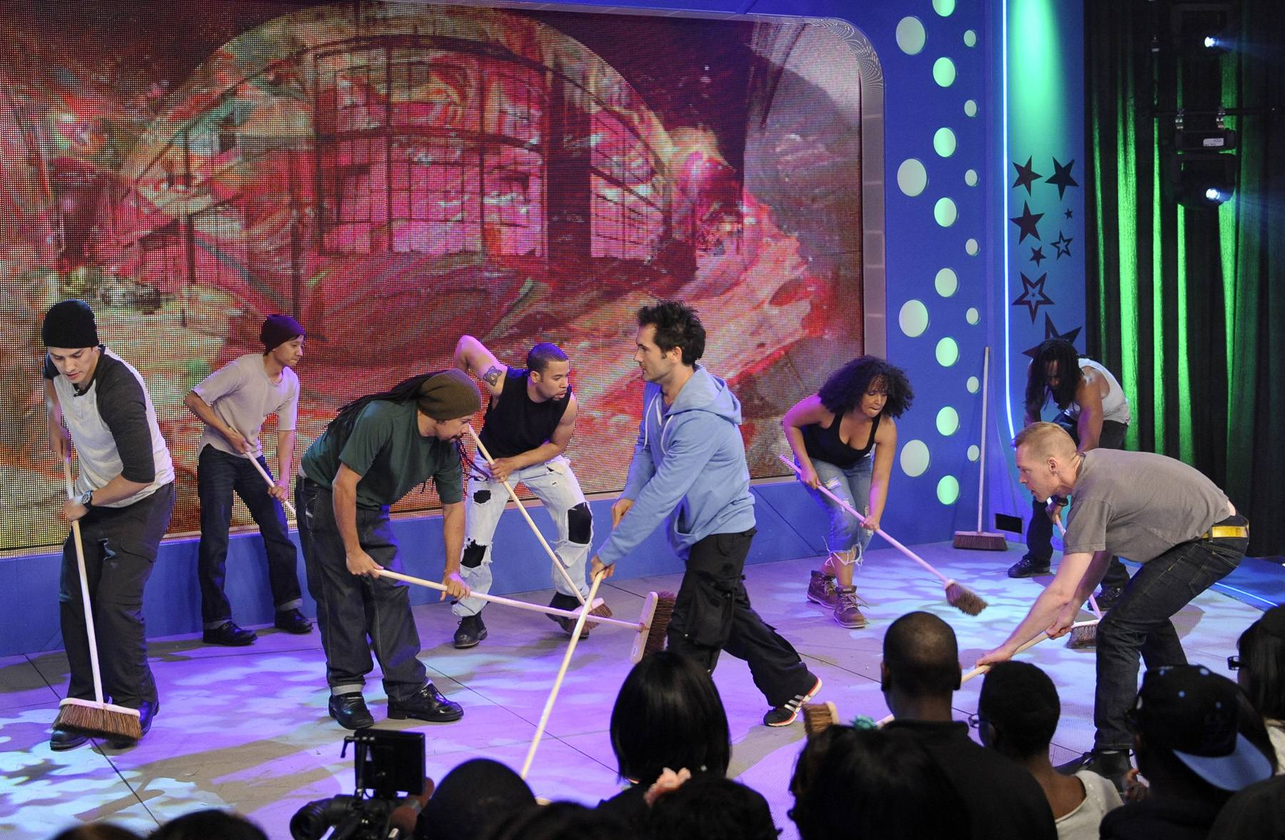 """Wow - Cast of """"STOMP"""" perform at 106 & Park, May 3, 2012. (Photo: John Ricard / BET)"""