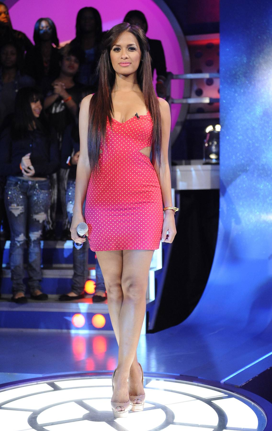 Spotted Pink - With straight hair and a bright pink polka-dotted dress coupled with nude shoes, Rocsi wins again.(Photo: John Ricard/BET)