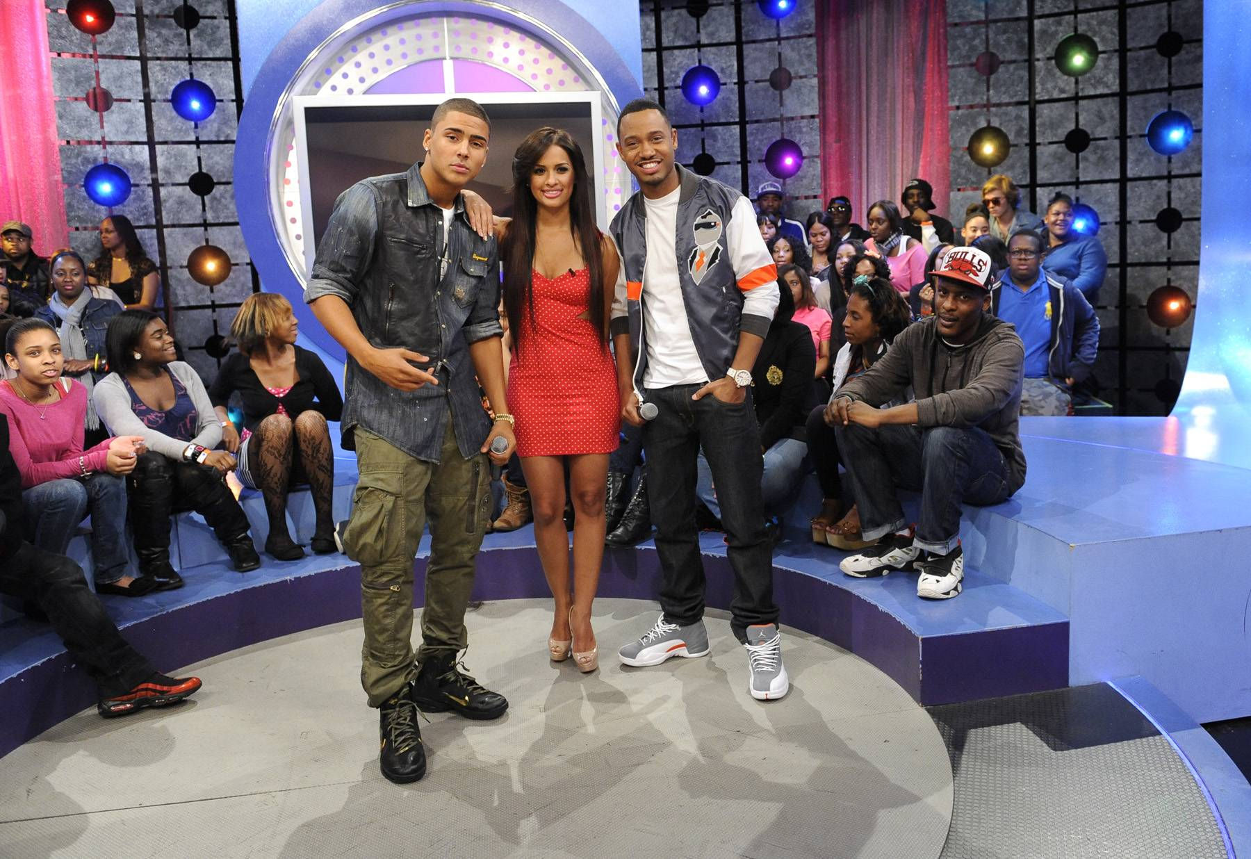 All Smiles - Quincy with Rocsi Diaz and Terrence J at 106 & Park, May 3, 2012. (Photo: John Ricard / BET)
