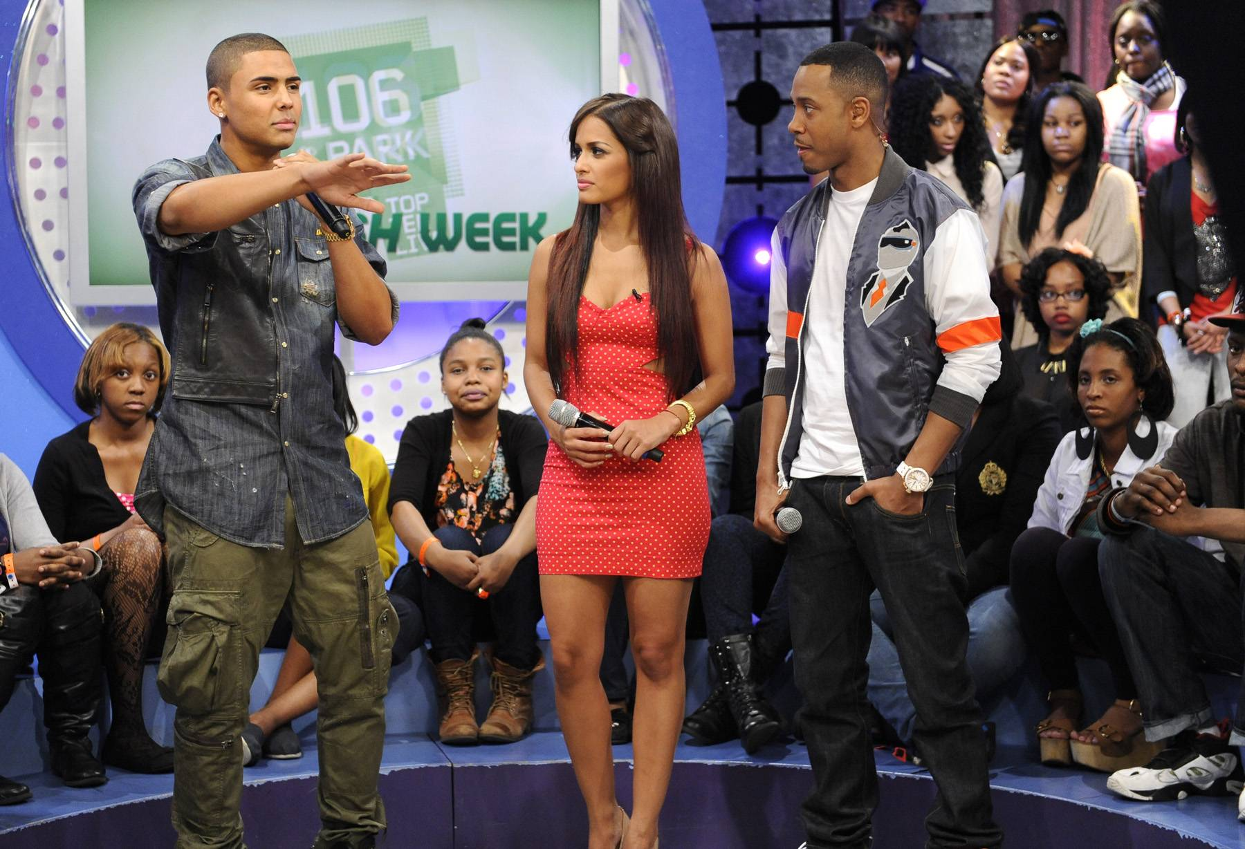 Over There - Quincy with Terrence J and Rocsi Diaz at 106 & Park, May 3, 2012. (Photo: John Ricard / BET)