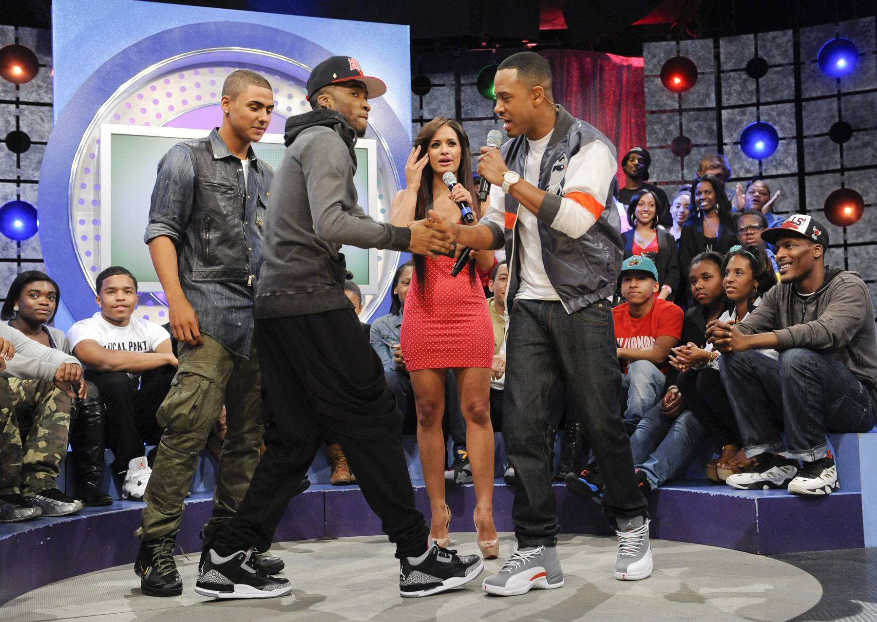 His Partner in Rhyme - Quincy is joined by Kendre onstage with Terrence J and Rocsi Diaz at 106 & Park, May 3, 2012. (Photo: John Ricard / BET)