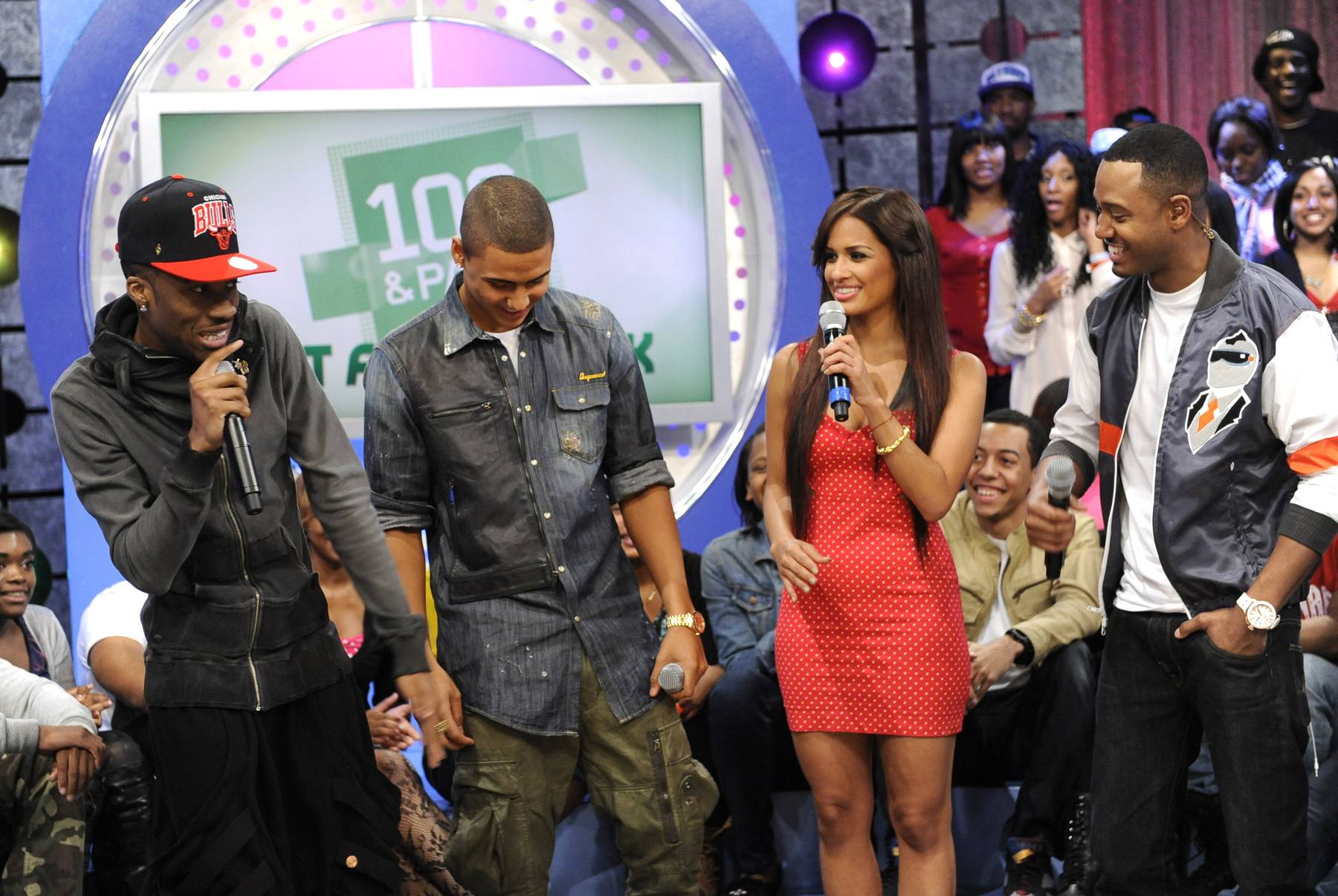 Cool Commentary - Kendre tells Rocsi Diaz and Terrence J what it was like working with Quincy at 106 & Park, May 3, 2012. (Photo by: John Ricard / BET)