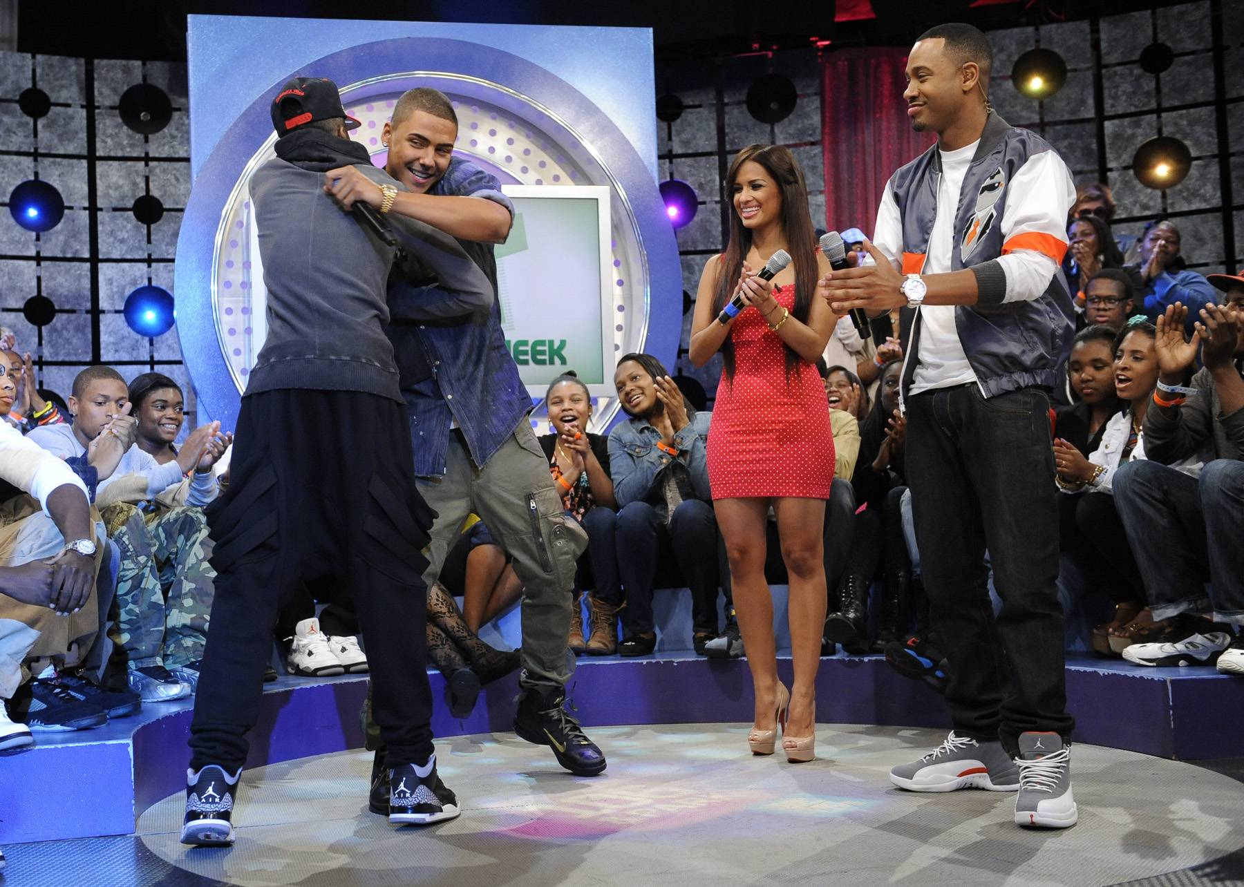 Mad Love, B - Kendre joins Quincy, Terrence J and Rocsi Diaz at 106 & Park, May 3, 2012. (Photo: John Ricard / BET)