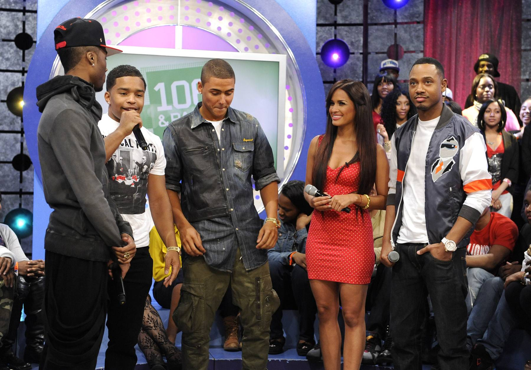 More Friends - Justin Combs joins Kendre, Quincy, Terrence J and Rocsi Diaz at 106 & Park, May 3, 2012. (Photo by: John Ricard / BET)