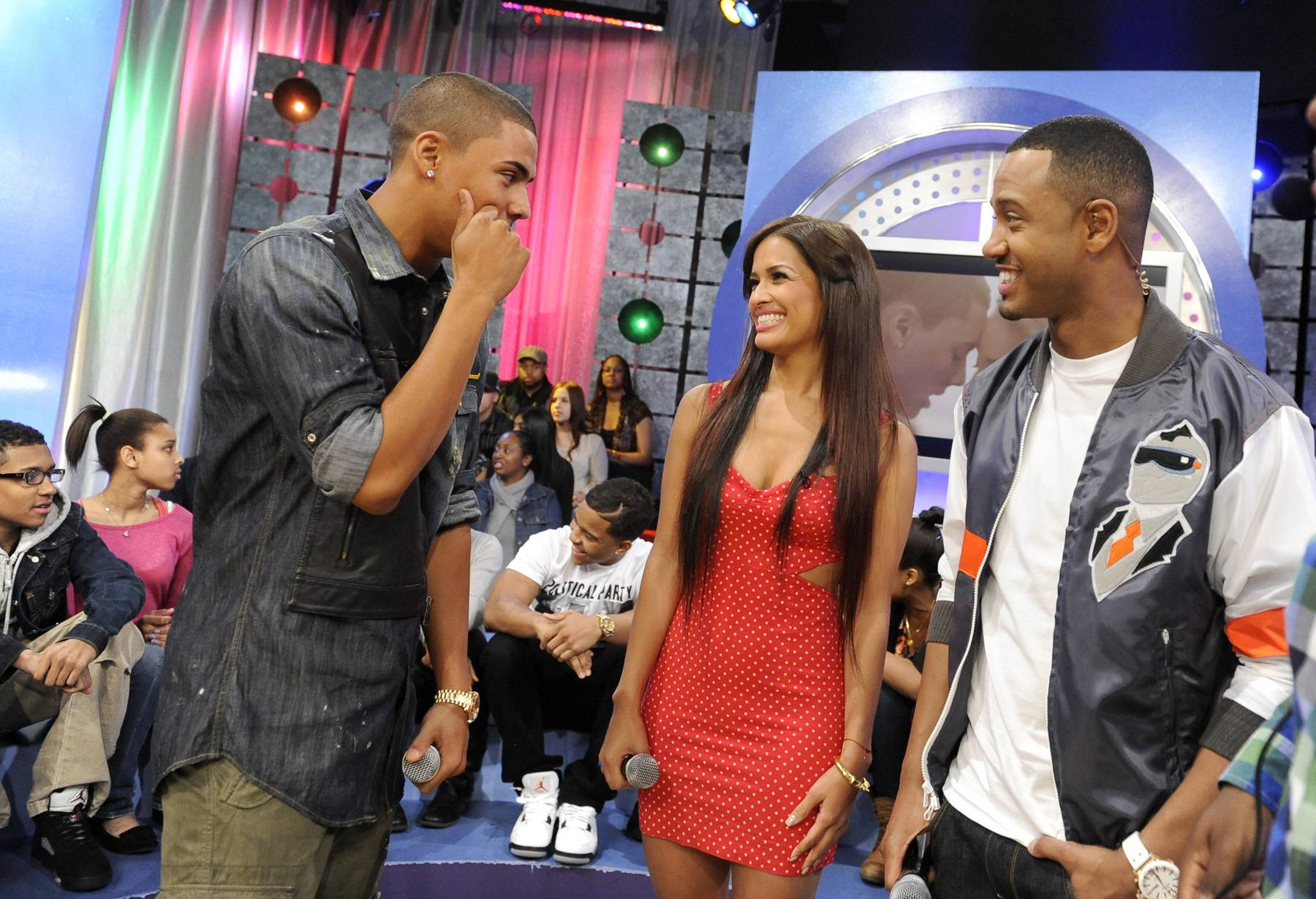Making Moves - Quincy and Rocsi Diaz and Terrence J during commercial break at 106 & Park, May 3, 2012. (Photo: John Ricard / BET)