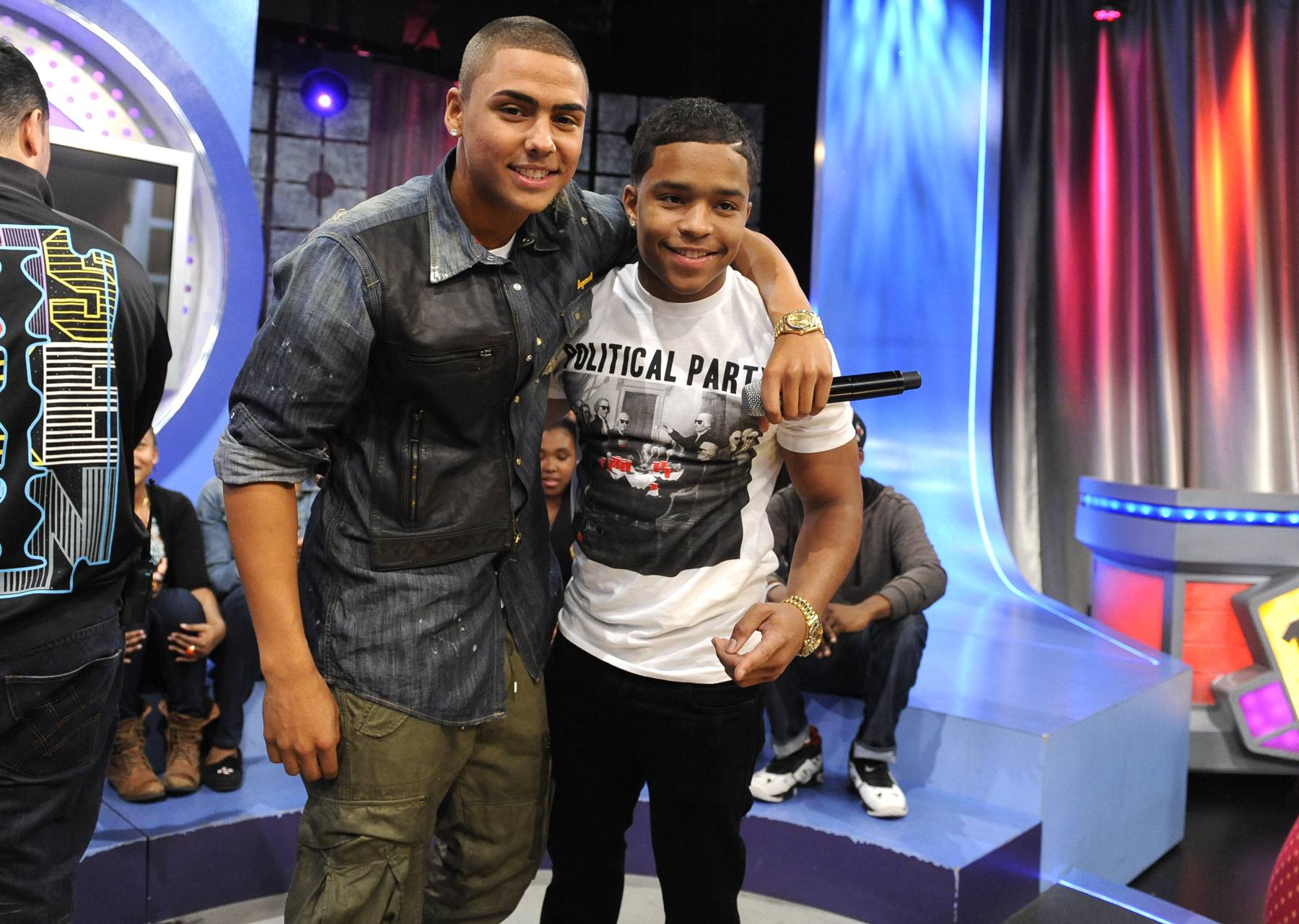 Brothers - Quincy and Justin on set at 106 & Park, May 3, 2012. (Photo: John Ricard / BET)