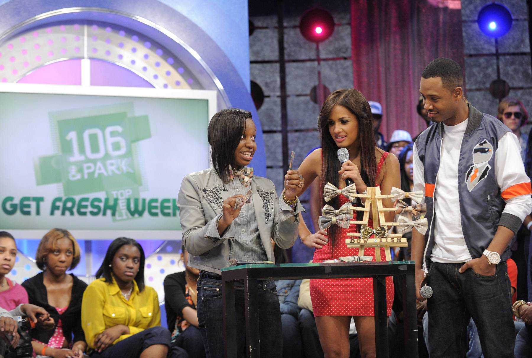 Take One - Tisha Johnson on set with Terrence and Rocsi and 106 & Park, May 3, 2012. (Photo by: John Ricard / BET)