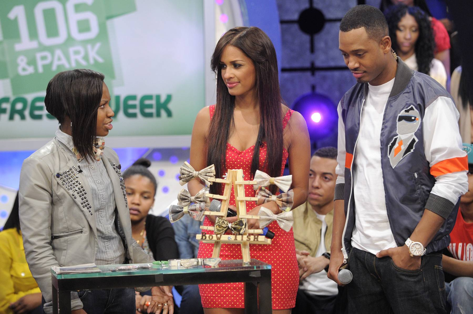 Like My Bowtie? - Tisha Johnson on set with Terrence and Rocsi and 106 & Park, May 3, 2012. (Photo by: John Ricard / BET)