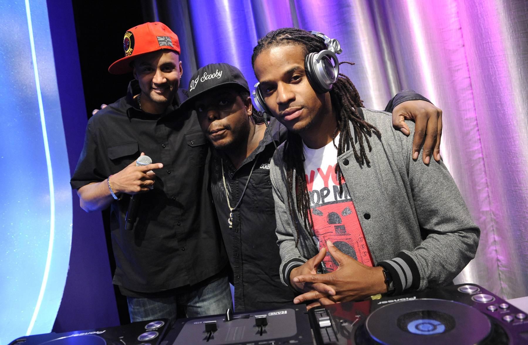 DJ Respect - DJ Spynfo and DJ Lyve at 106 & Park, May 3, 2012. (Photo: John Ricard / BET)