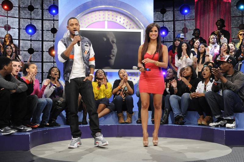 Ok Now - Terrence and Rocsi on set at 106 & Park, May 3, 2012. (Photo: John Ricard / BET)