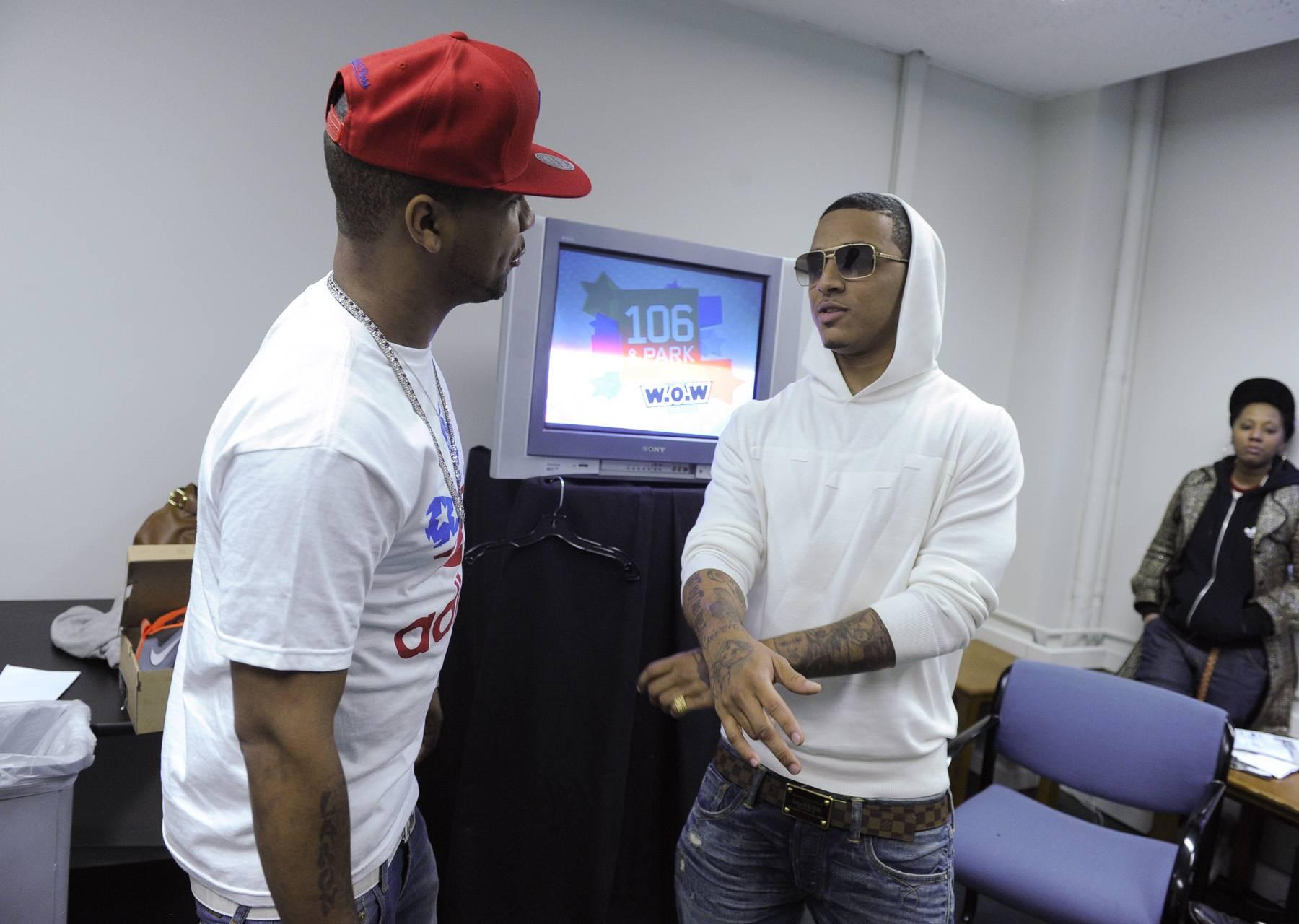 Harlem Meets Houston - Juelz Santana and Kirko Bangz in the green room at 106 & Park, May 2, 2012.(Photo: John Ricard/BET)