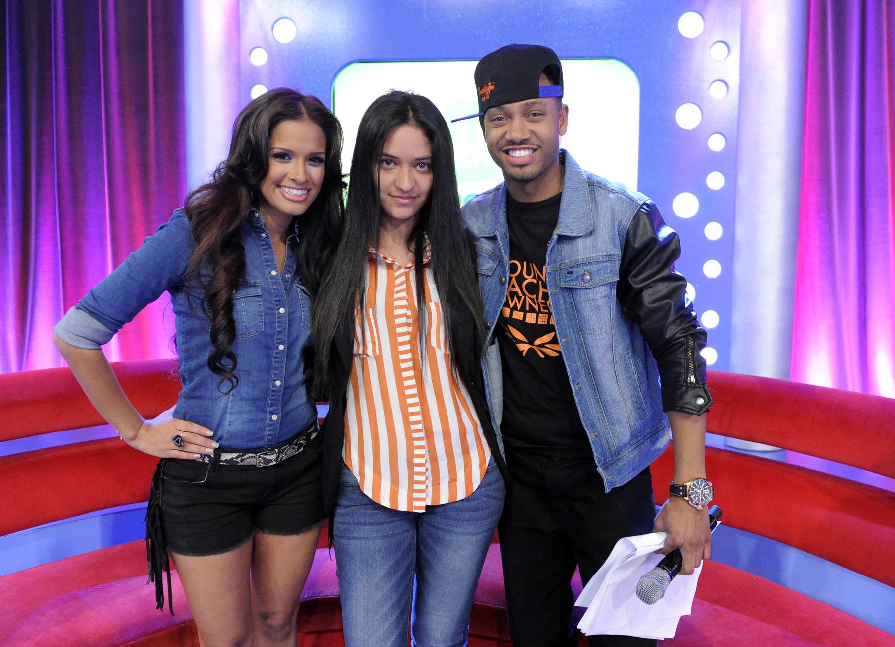 Giving Back! - Terrence J and Rocsi Diaz with her mentee from Petals-N-Belles at 106 & Park, May 2, 2012. (Photo: John Ricard/BET)