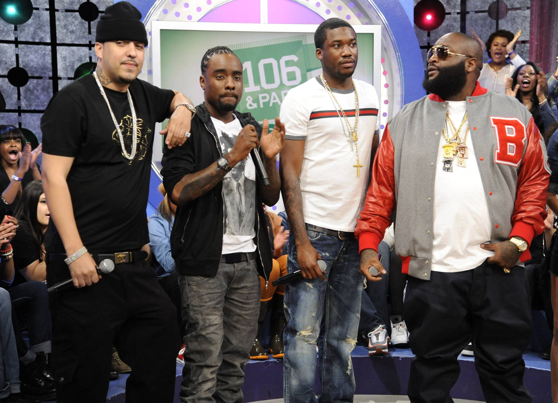 The Crew - MMG members Wale, Meek Mill and Rick Ross with Bad Boy French Montana at 106 & Park, May 2, 2012. (Photo: John Ricard/BET)