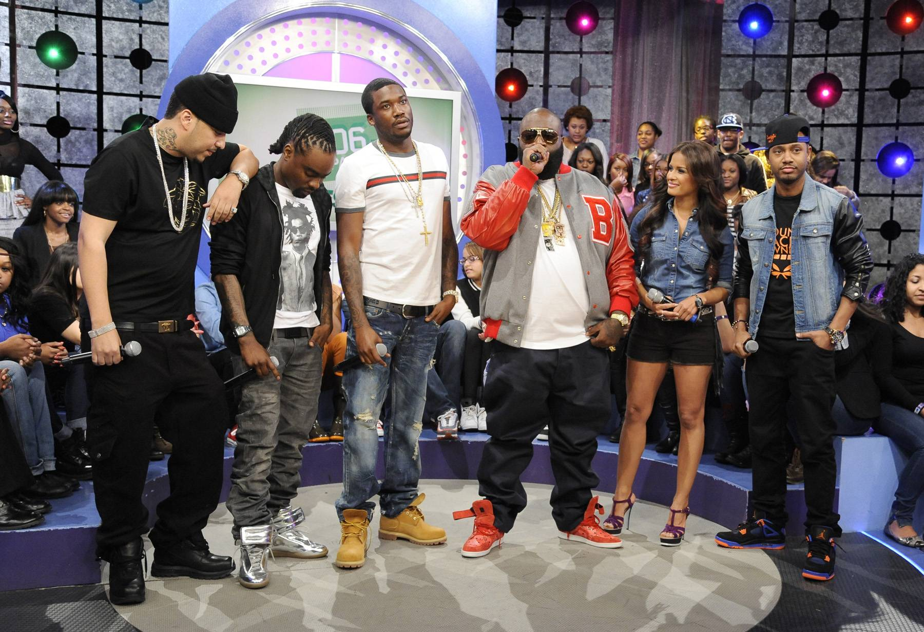 Wow! - MMG members Wale, Meek Mill and Rick Ross withFrench Montana,Rocsi Diaz and Terrence J at 106 & Park, May 2, 2012.(Photo: John Ricard/BET)
