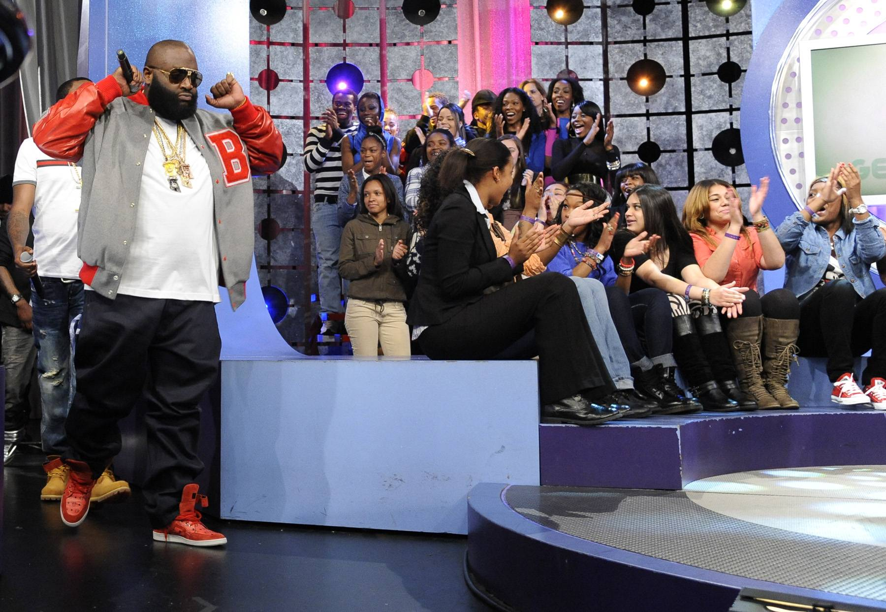 Move It - Rick Ross and MMG take the stage at 106 & Park, May 2, 2012.(Photo: John Ricard/BET)