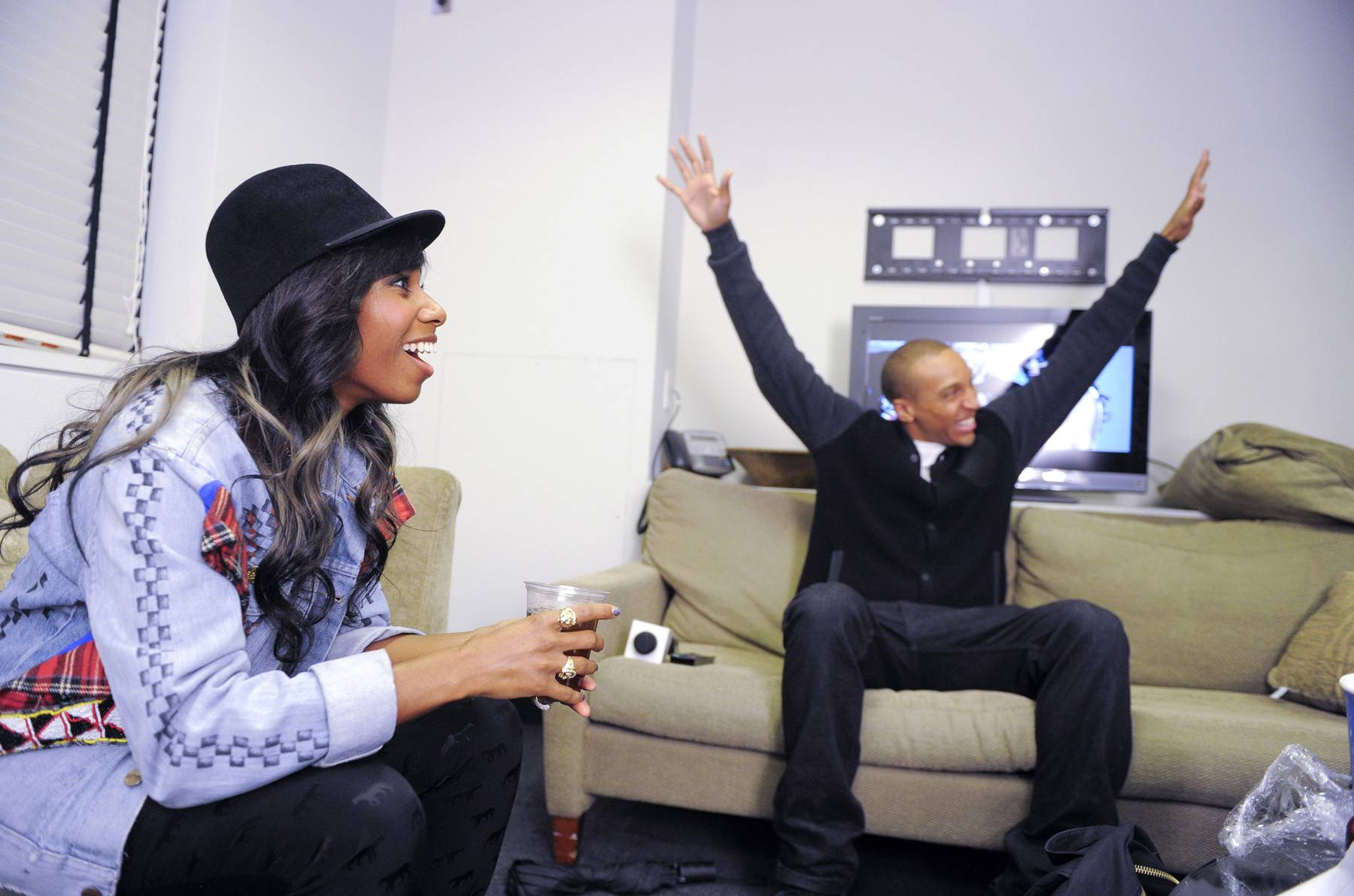 Put 'em Up - Santigold with Tony Anderson of BET.com in the green room at 106 & Park, May 2, 2012. (Photo: John Ricard/BET)