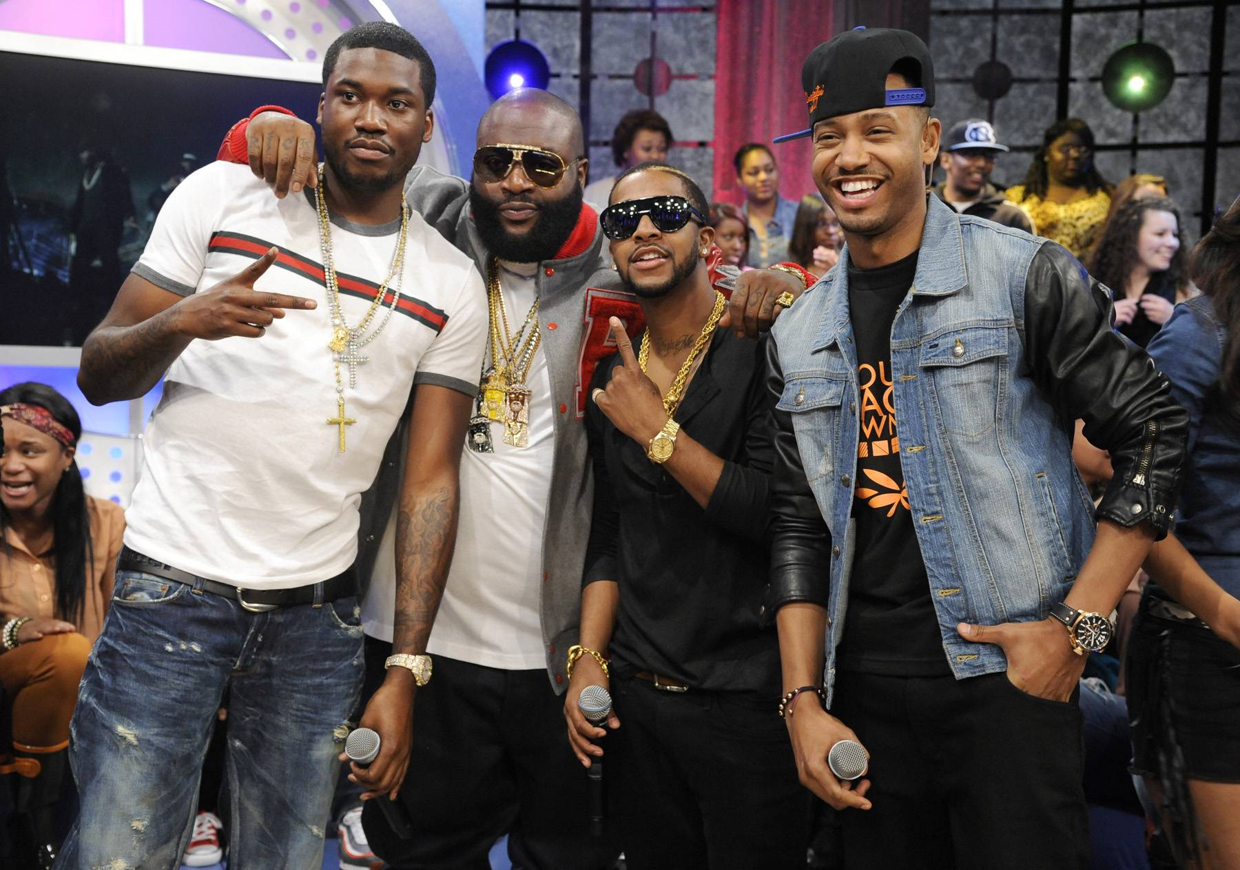 Get It Together - MMG members Meek Mill, Rick Ross, Omarion and host Terrence J at 106 & Park, May 2, 2012. (Photo: John Ricard/BET)