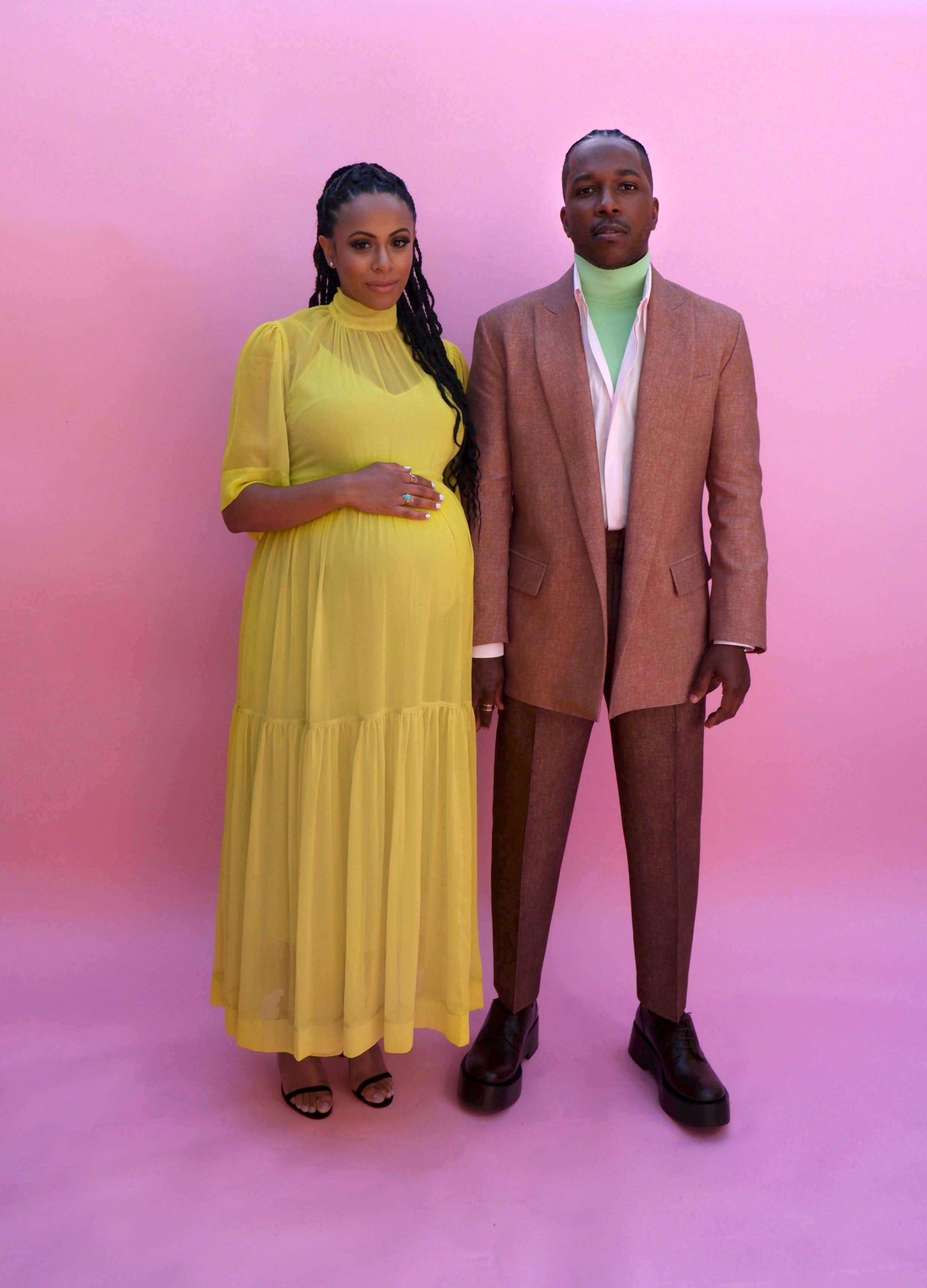 Leslie Odom, Jr. and Nicolette Robinson - Leslie Odom, Jr.andhis actress wifeNicolette Robinsonseemed to be in good spirits as they snapped a few photos in preparation for the 2021 Golden Globe Awards. Quite noticeably, the dapper actor styled in a tailored Valentino ensemble, while his stylish spouse styled a bright yellow maxi dress that perfectly accentuated her growing baby bump.FYI:This makes baby no. 2 for the loving couple. Congratulations to the happy family!