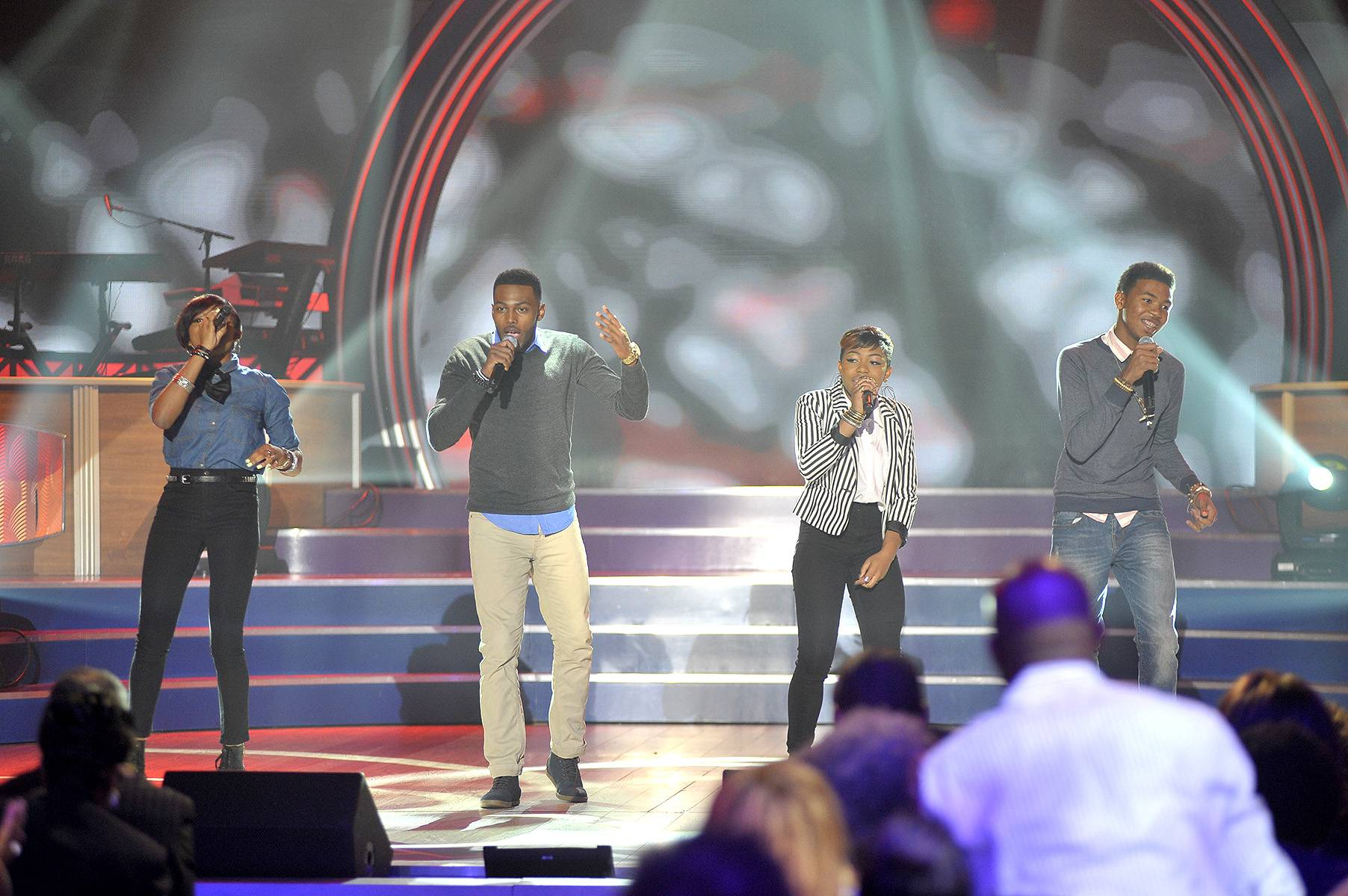 """The Walls Group - Kirk also brought along his prot?g?s, the first-ever artists signed to his Fo Yo Soul Record Label, The Walls Group. Their hit single asks if they can get some """"Love on the Radio."""" Watch them get love on TV this Sunday on an all-new Bobby Jones Gospel!  (Photo: Kris Connor/Getty Images for BET Networks)"""