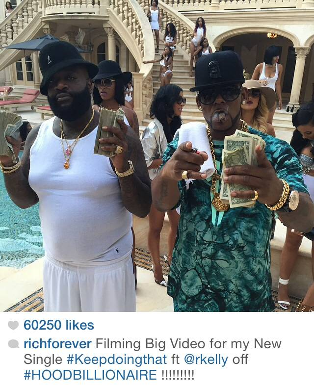 """Rick Ross Is Working - MMG boss Rick Ross was spotted in Atlanta shooting the video for his single ?Keep Doing That (Rich Chick),"""" featuring R. Kelly, who was also on set along with model Jessica White. ?Keep Doing That? is Rozay?s lead single for his upcoming album,Hood Billionaire, expected out inNovember.   (Photo: Rick Ross via Instagram)"""