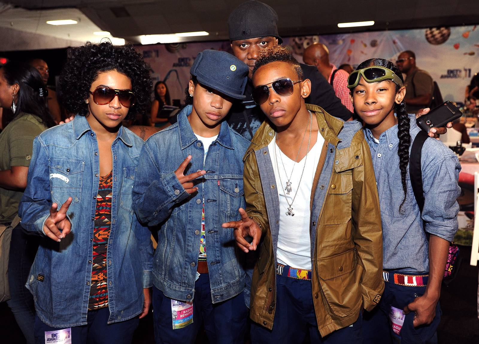 Denim Style  - Mindless Behavior in the radio room at the BET Awards 2011, held at the Shrine Auditorium on June 24, 2011, in Los Angeles, California.(Photo: Earl Gibson/PictureGroup)