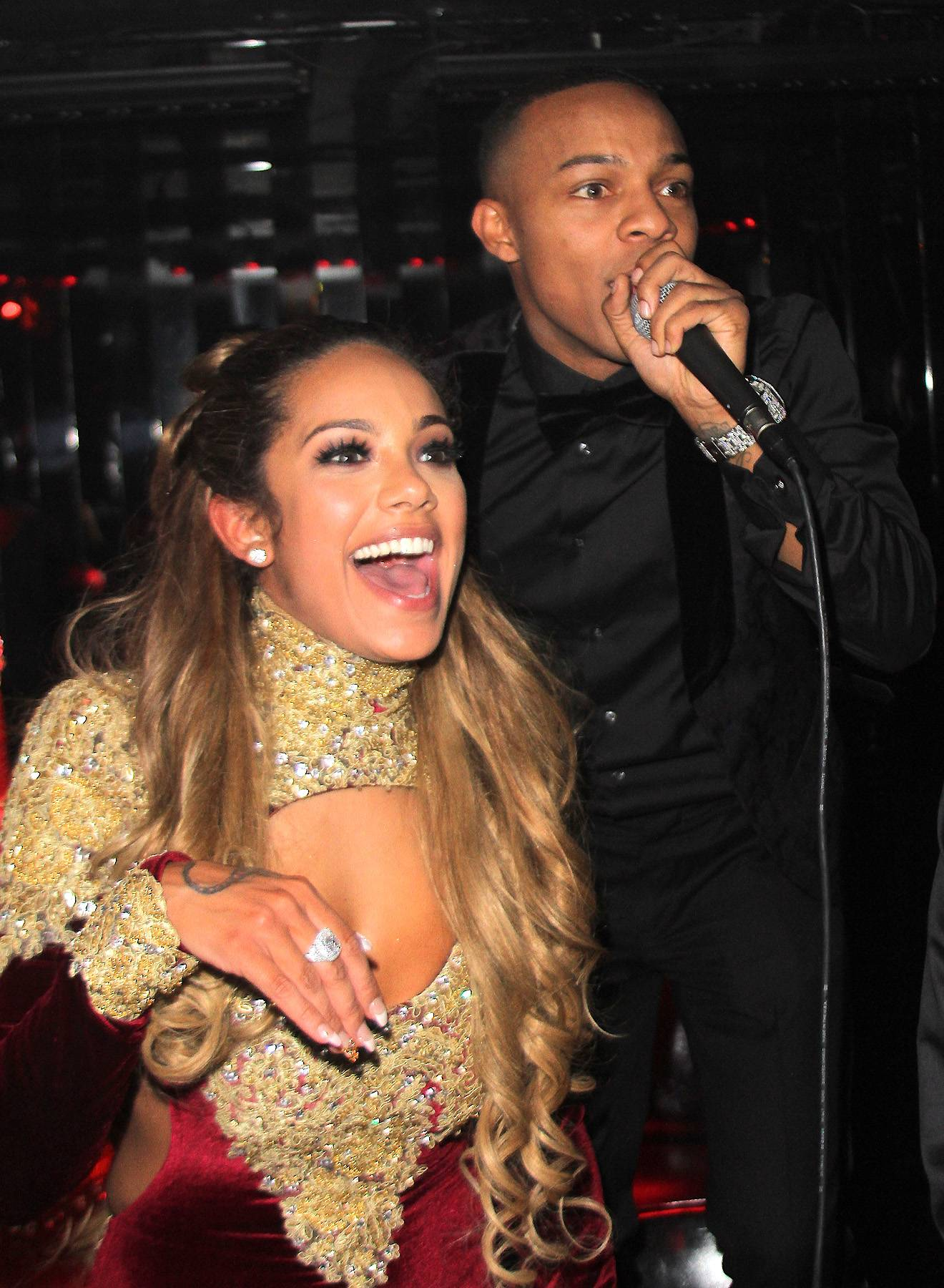 Erica Mena Celebrates Birthday - Shad Moss (Bow Wow) and fiancee Erica Mena celebrated her birthday in New York City last night. Mena was wearing a red velvet dress, had a giant red cake and got kisses from her man as she and friends celebrated. Sounds like the ideal birthday. (Photo: We Dem Boyz/Splash News)