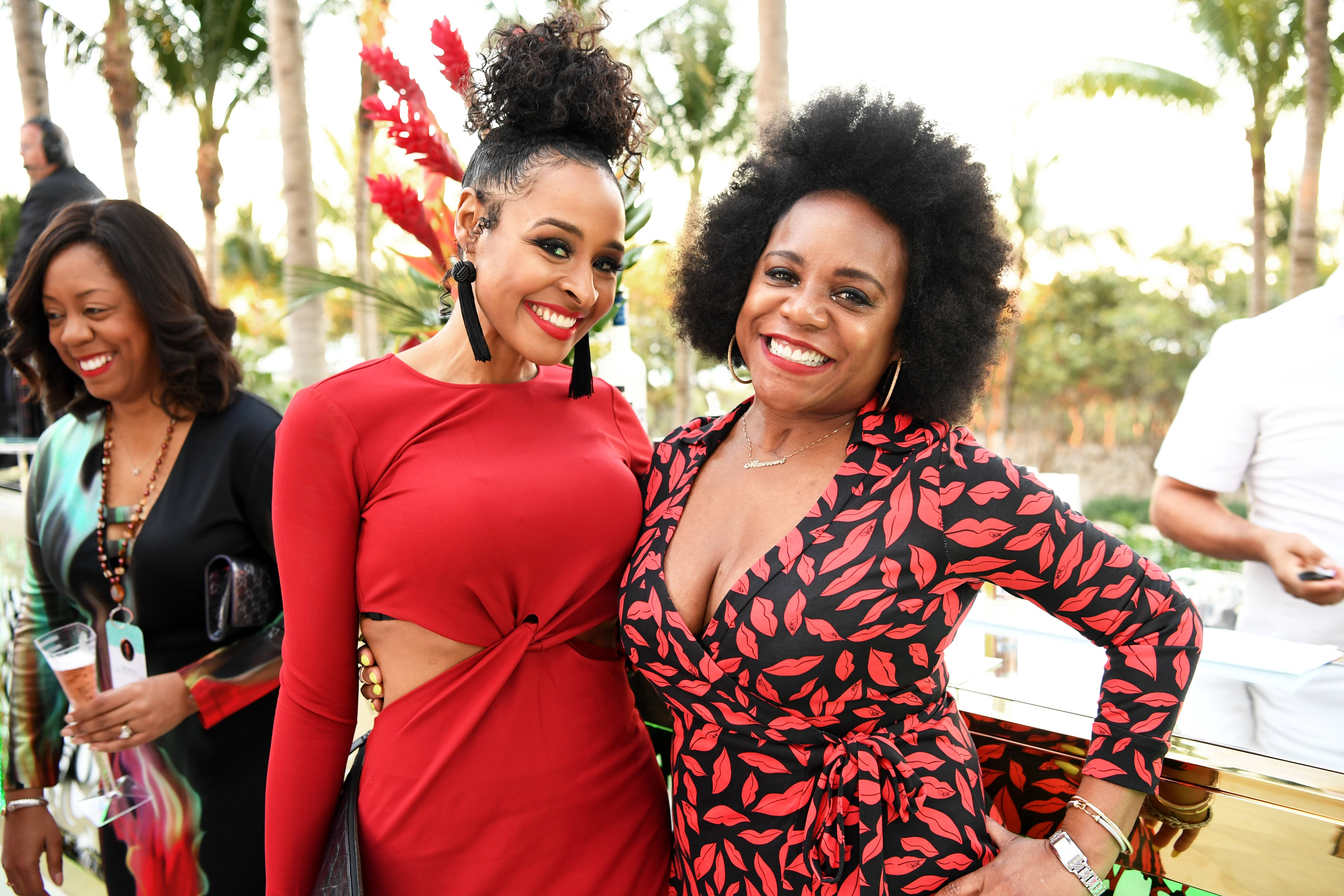 Janell Snowden and Maureen Carter - The media personality links up with BET's own VP of Design during the festivities.(Photo: Phelan Marc/BET)