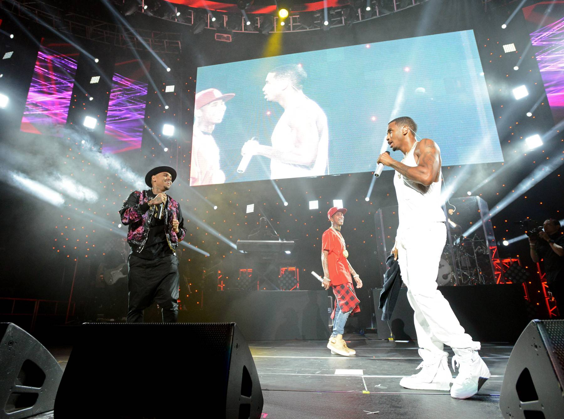 Three's Company - Tyga, Trey Songz and Chris Brown made for a music trifecta.(Photo: Earl Gibson/BET/Getty Images for BET)