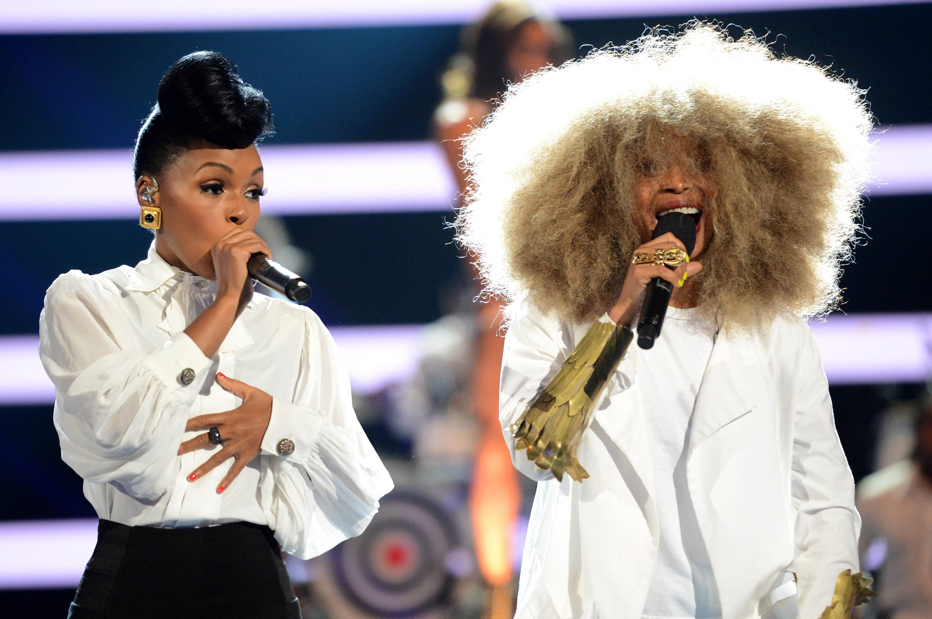 Rockin' Good Time - The song wouldn't be complete without Erykah Badu! Both queens linked up to close out the show. BET Awards 2013 was another incredible night!(Photo: Jason Merritt/Getty Images for BET)