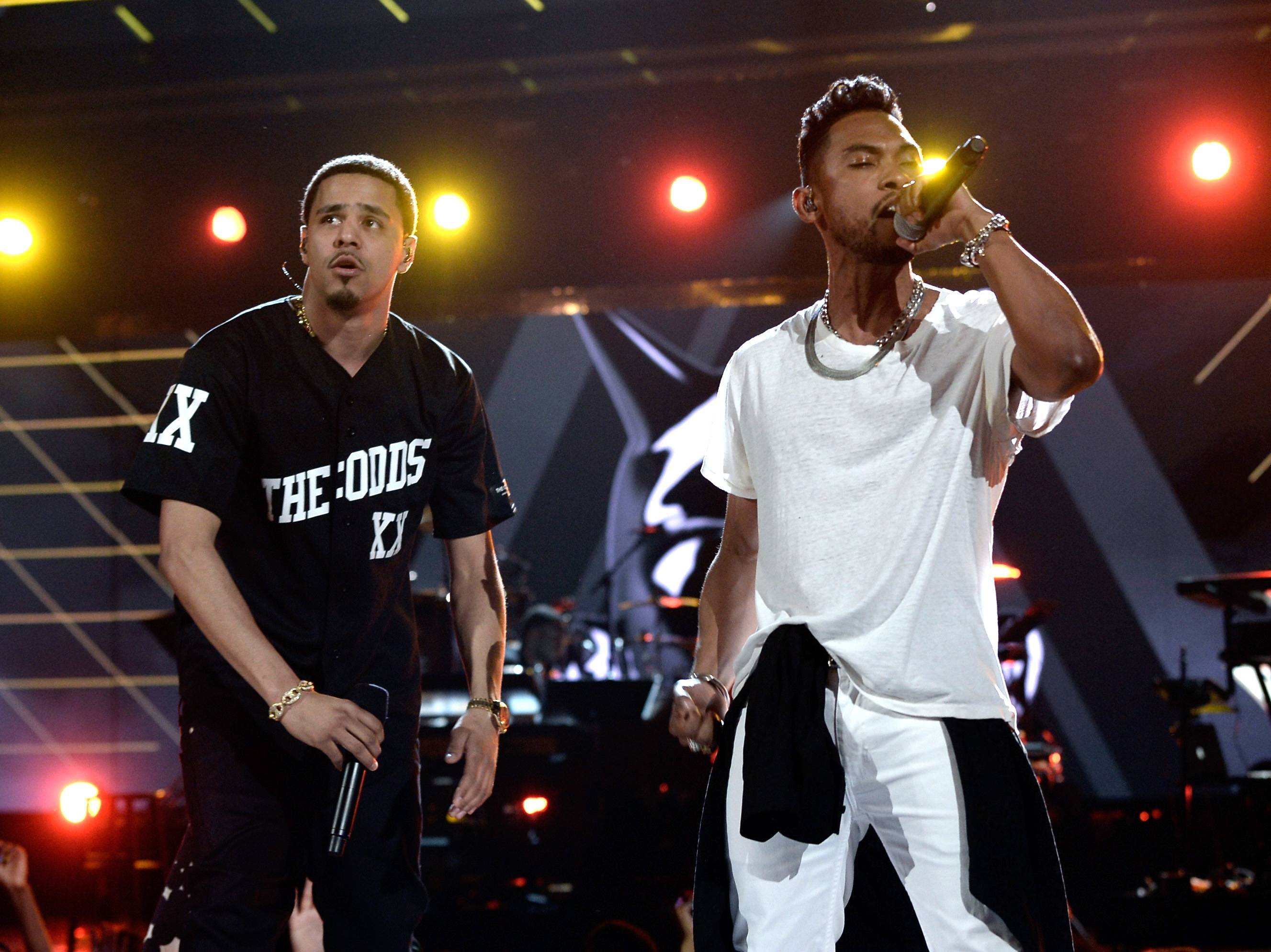 """Ready for the Hook Now - Almost on cue, Miguel stepped on stage to assist J. Cole with the chorus to """"Power Trip."""" Right on, guys.(Photo: Kevin Winter/Getty Images for BET)"""