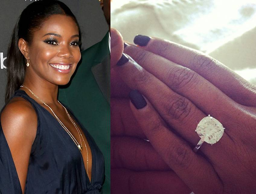 """Gabrielle Union  - The Being Mary Jane star said """"yes"""" to this jaw-dropping engagement ring from her longtime boyfriend, NBA superstar Dwyane Wade, who proposed on December 21, 2013. The 8.5-carat cushion-cut diamond (valued at $1 million) was designed by top celebrity jeweler Jason of Beverly Hills. They wed on August 30, 2014 in Miami.  (Photos from left: Frederick M. Brown/Getty Images, Gabrielle Union via Instagram)"""