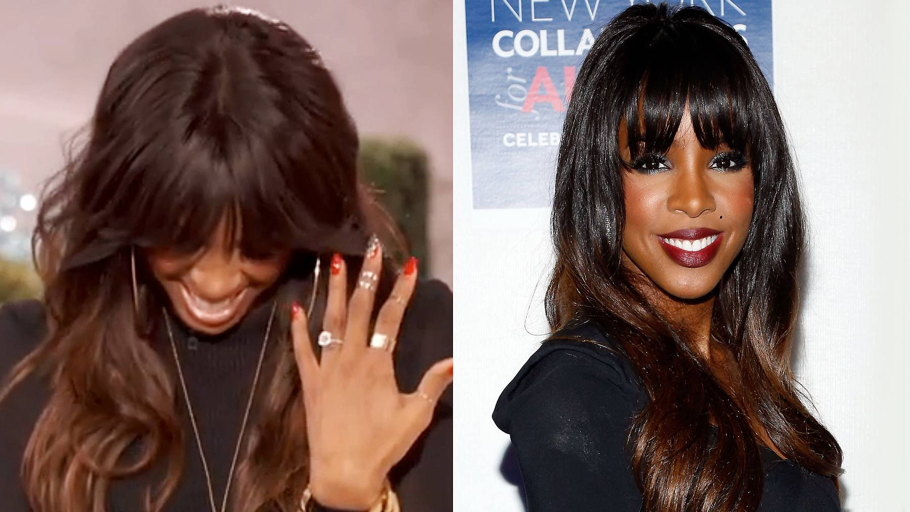 """Kelly Rowland  - After weeks of speculation, the newly engaged singer confirmed in December 2013 that beau Tim Witherspoon """"put a ring on it,"""" flashing her stunning new bling on the Queen Latifah Show. From what we can see, she's working with a huge cushion-cut diamond set on a solid gold band. They made it official in Costa Rica on May 9, 2014.  (Photos from left: The Queen Latifah Show/CBS, Cindy Ord/Getty Images for Autism Speaks)"""
