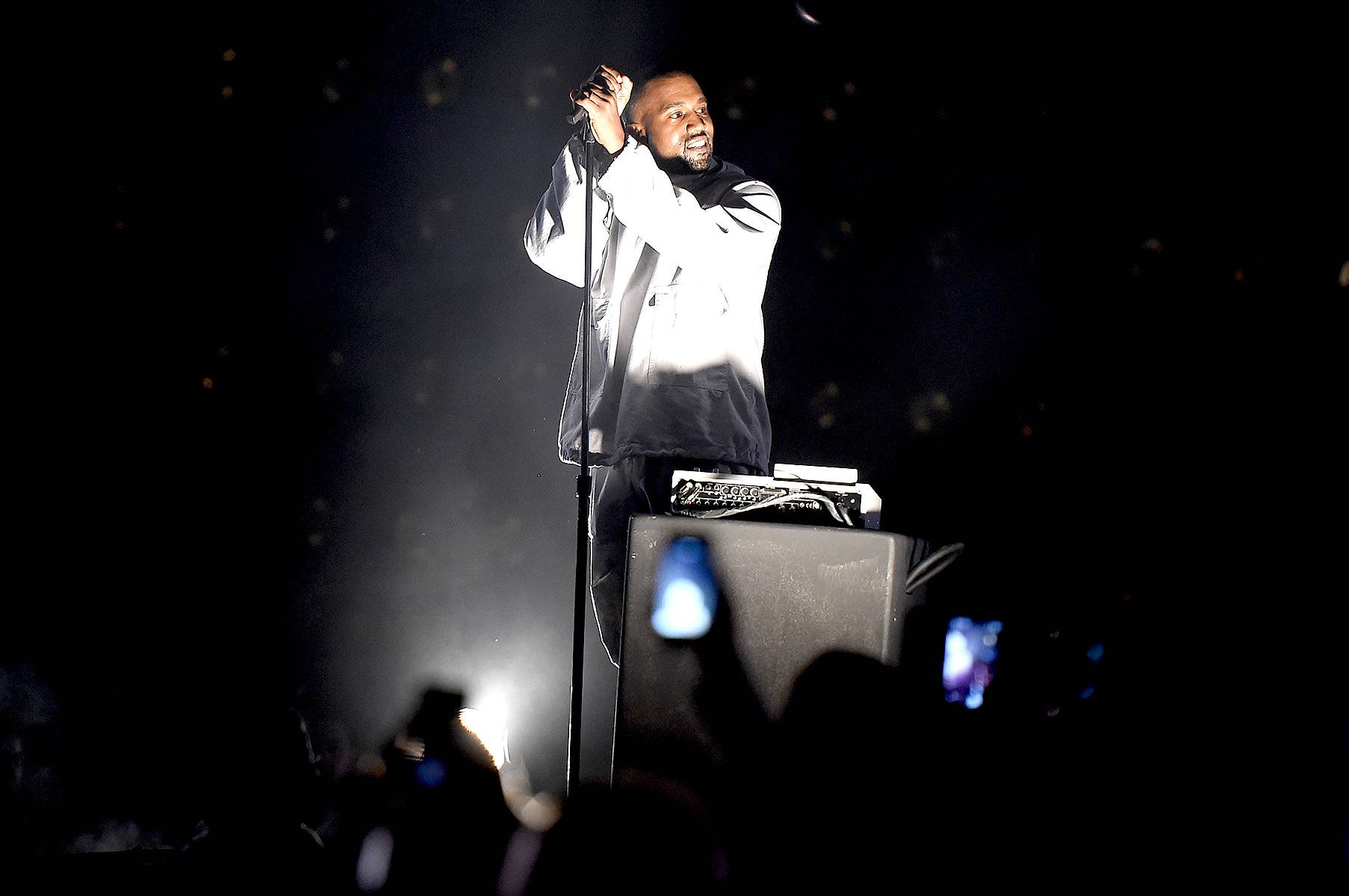 """Kanye West - We all remember Ye's """"Through the Wire"""" video that showed footage of Jay Z bringing on the stage with the rest of the Roc to announce his induction as the newest member of the team. After that things were never the same.  (Photo: Kevin Winter/Getty Images For 102.7 KIIS FM's Wango Tango)"""
