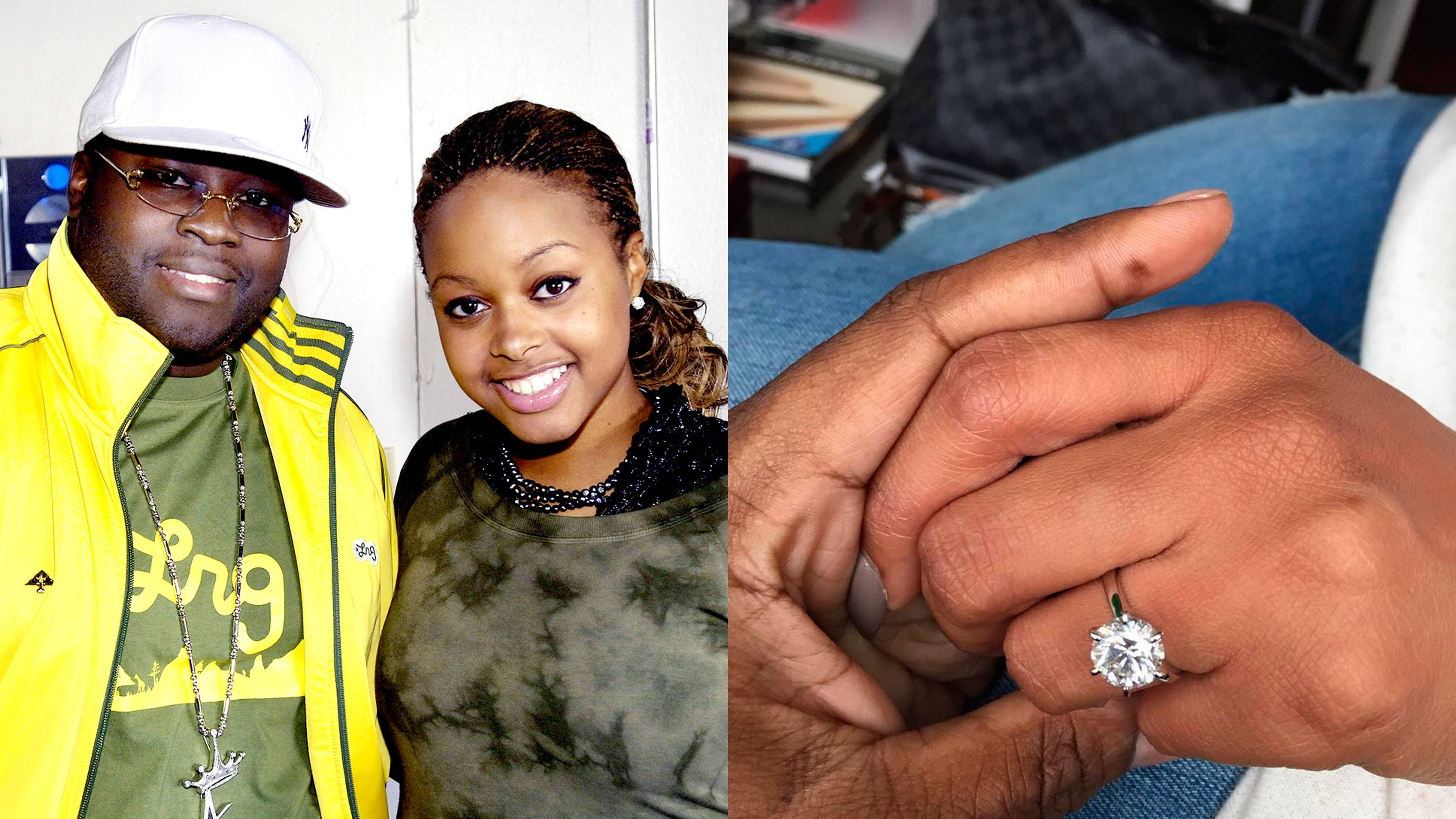 """Chrisette Michele - It's a match made in music heaven! The singer said """"yes"""" after her longtime manager, Doug """"Biggs"""" Ellison, got down on one knee on the rooftop of New York City's Jungle City recording studio in late October. Her radiant, oval-shaped diamond is a classic beauty, sitting atop a plain platinum band.   (Photos from Left: Frank Mullen/WireImage, Doug Ellison via Instagram)"""