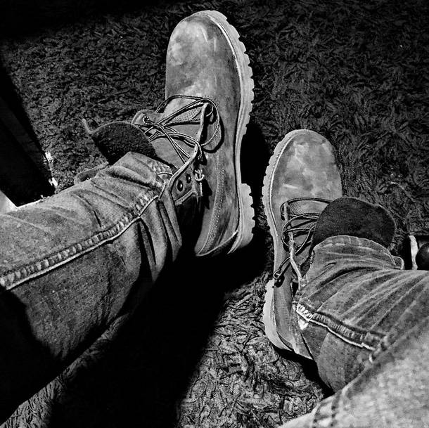 Rugged Touch - Everything looks better in black and white, including some rugged Tims. Big ups to Lil' Shawn for this visual.   (Photo: Lil Shawn via Instagram)