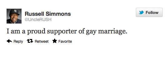 Russell Simmons - The business mogul and human rights activist tweeted his support for marriage equality on May 6, just days before President Obama?s May 9 announcement.  (Photo: Courtesy Twitter)