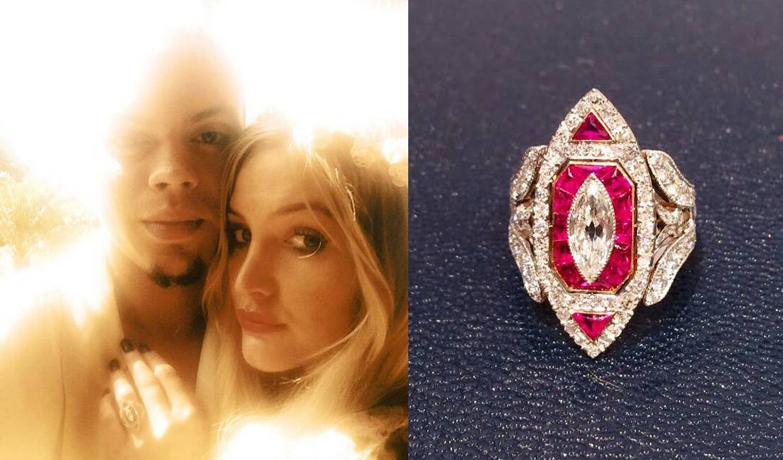 What a Ring! - The Hunger Games: Mockingjay star proposed with a customized ring from celebrity jeweler Neil Lane's archival collection,adding a sleeve of smaller diamonds around its 5-carat, marquise-cut center stone and accent rubies.  (Photos from left: Ashlee Simpson via Twitter, Courtesy Neil Lane Jewelry)