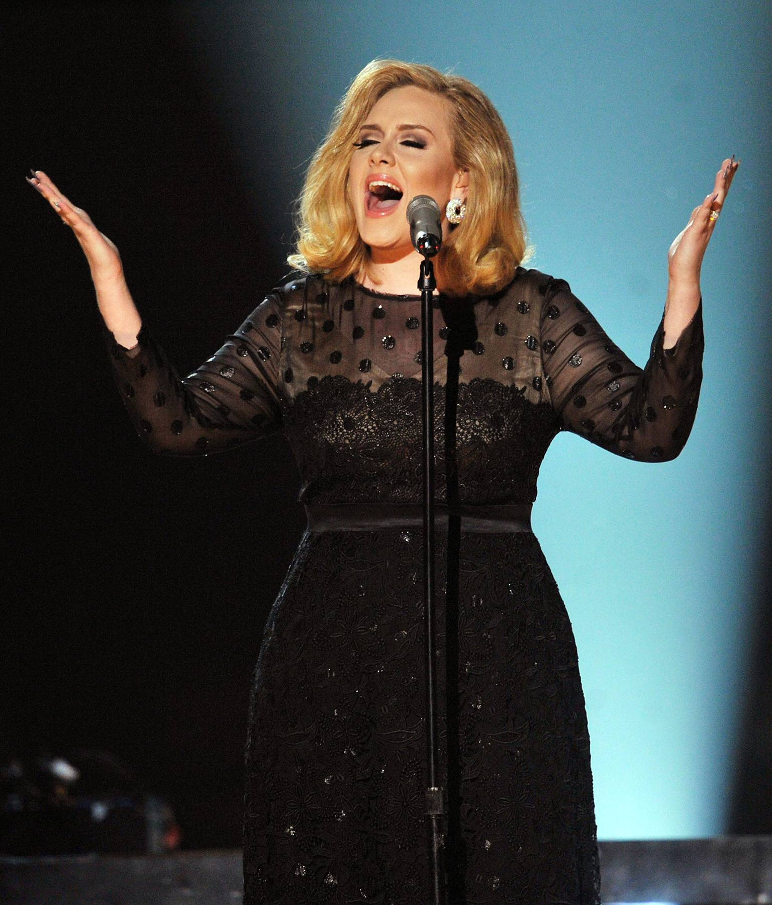 """4. Adele ? """"Rolling in the Deep"""" - Perhaps the most memorable vocal performance of Obama's first term, Adele beautifully walks the line between despair and fury on this rollicking, piano and hand clap driven soul throwback.  (Photo: Kevin Winter/Getty Images)"""